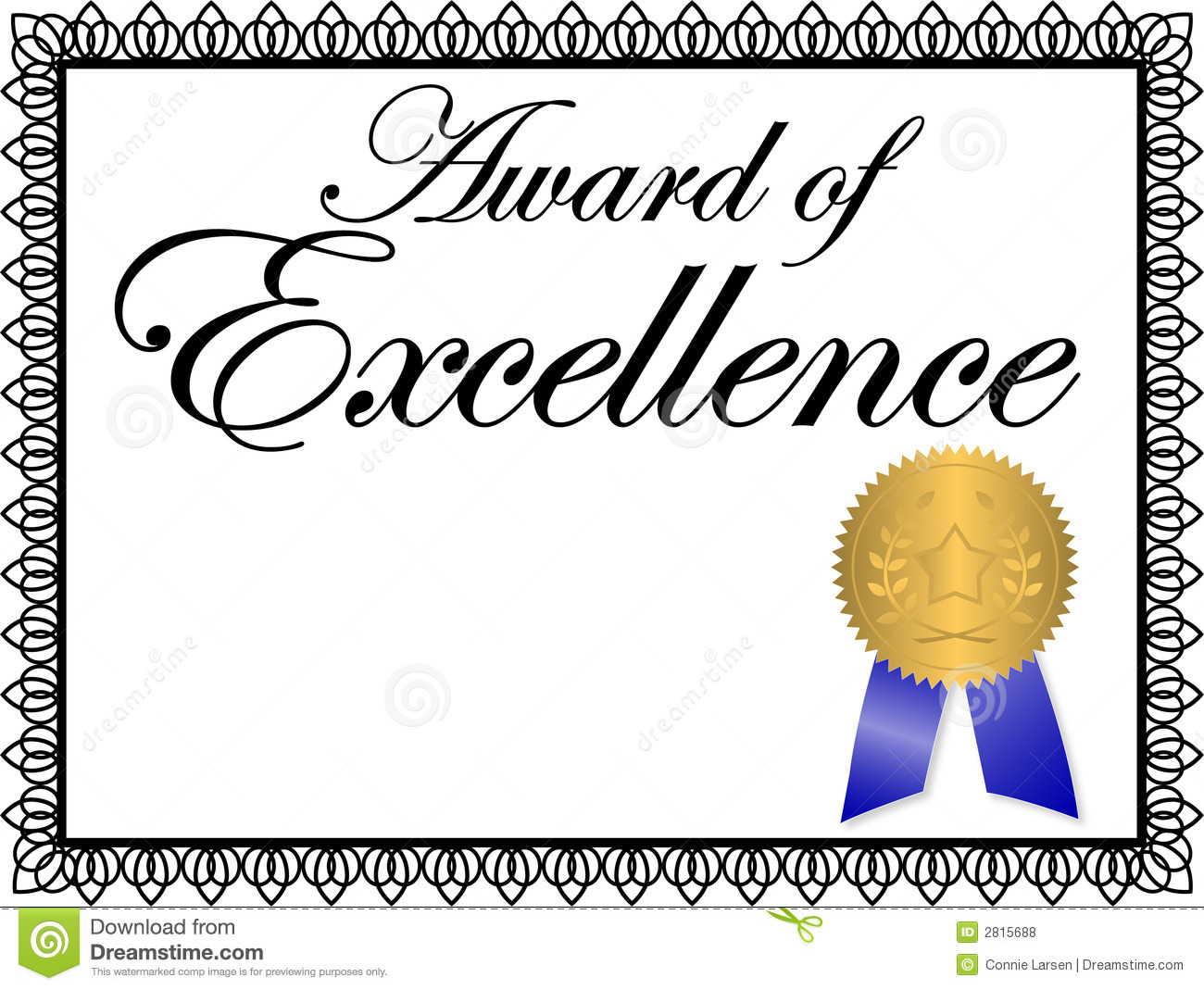 Illustration of a certificate...Award of Excellence...personalize with ...