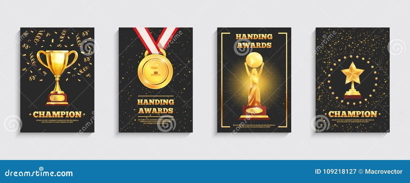 Award Gold Trophy Posters Set Stock Vector Illustration Of Dark