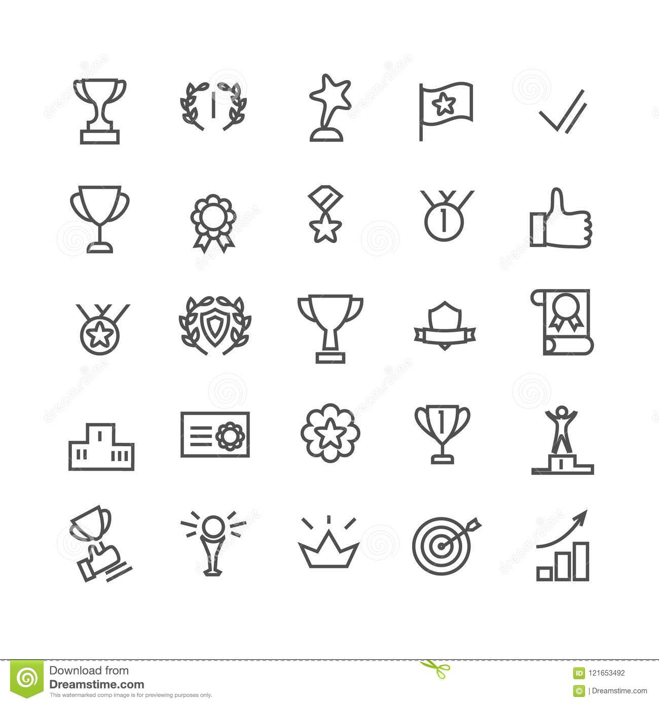 Award icon set. Line art. Includes such icons as trophy cup, goal, success, thumbs up. Editable stroke 48X48 pixel perfect.