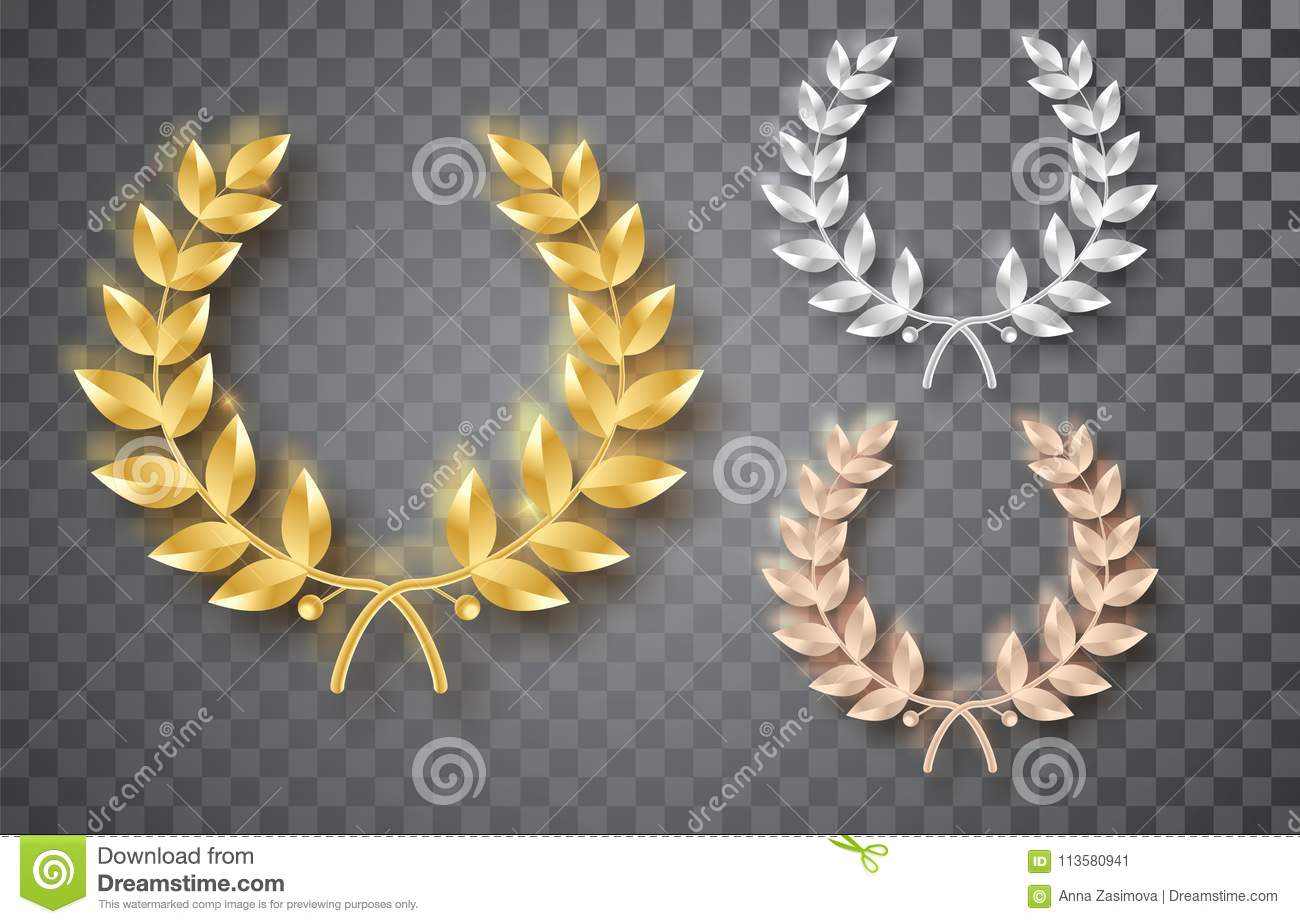 Award laurel set isolated on a transparent background. First, second and third place. Winner template. Symbol of victory