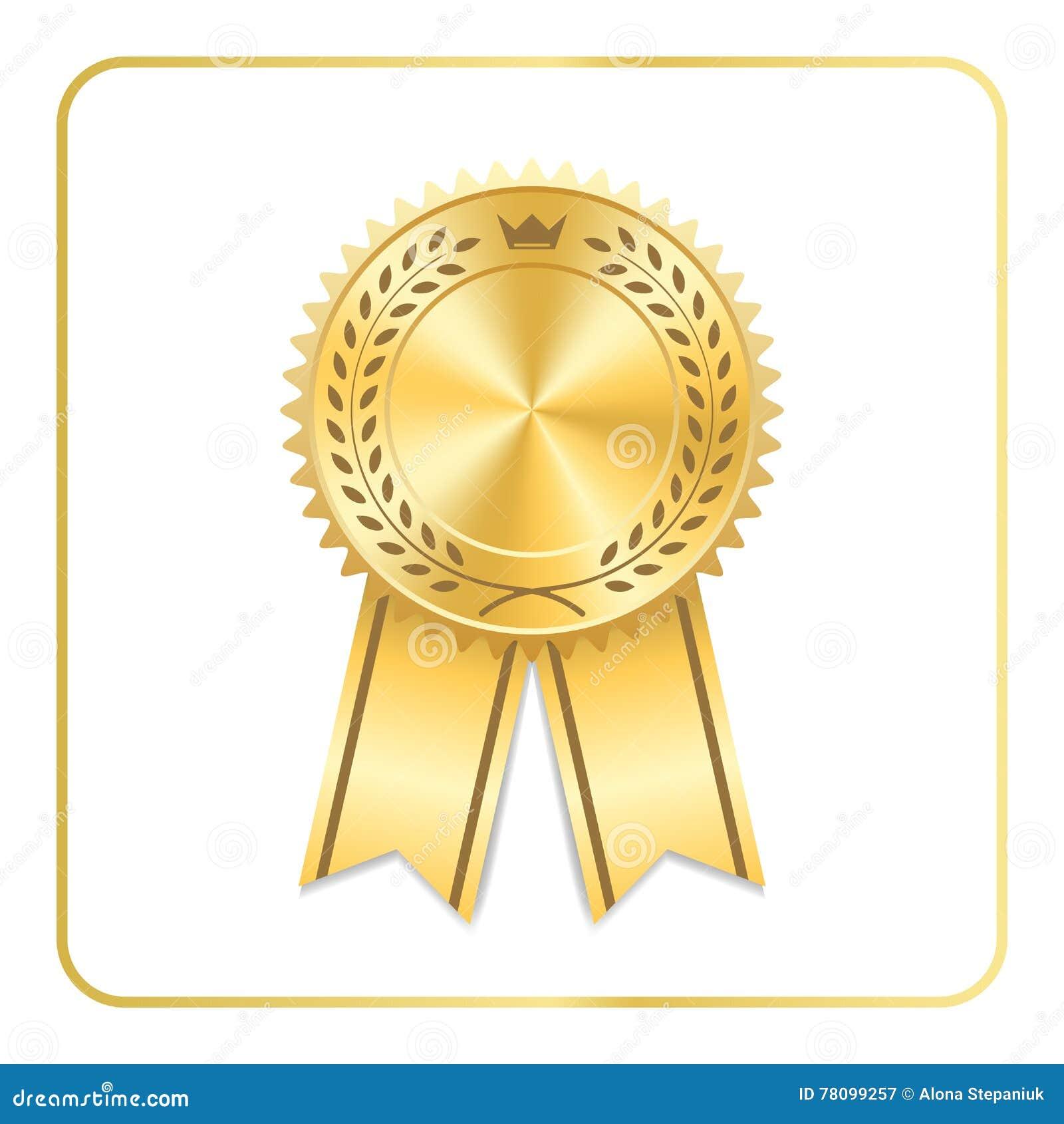 award ribbon gold icon laurel wreath crown stock vector