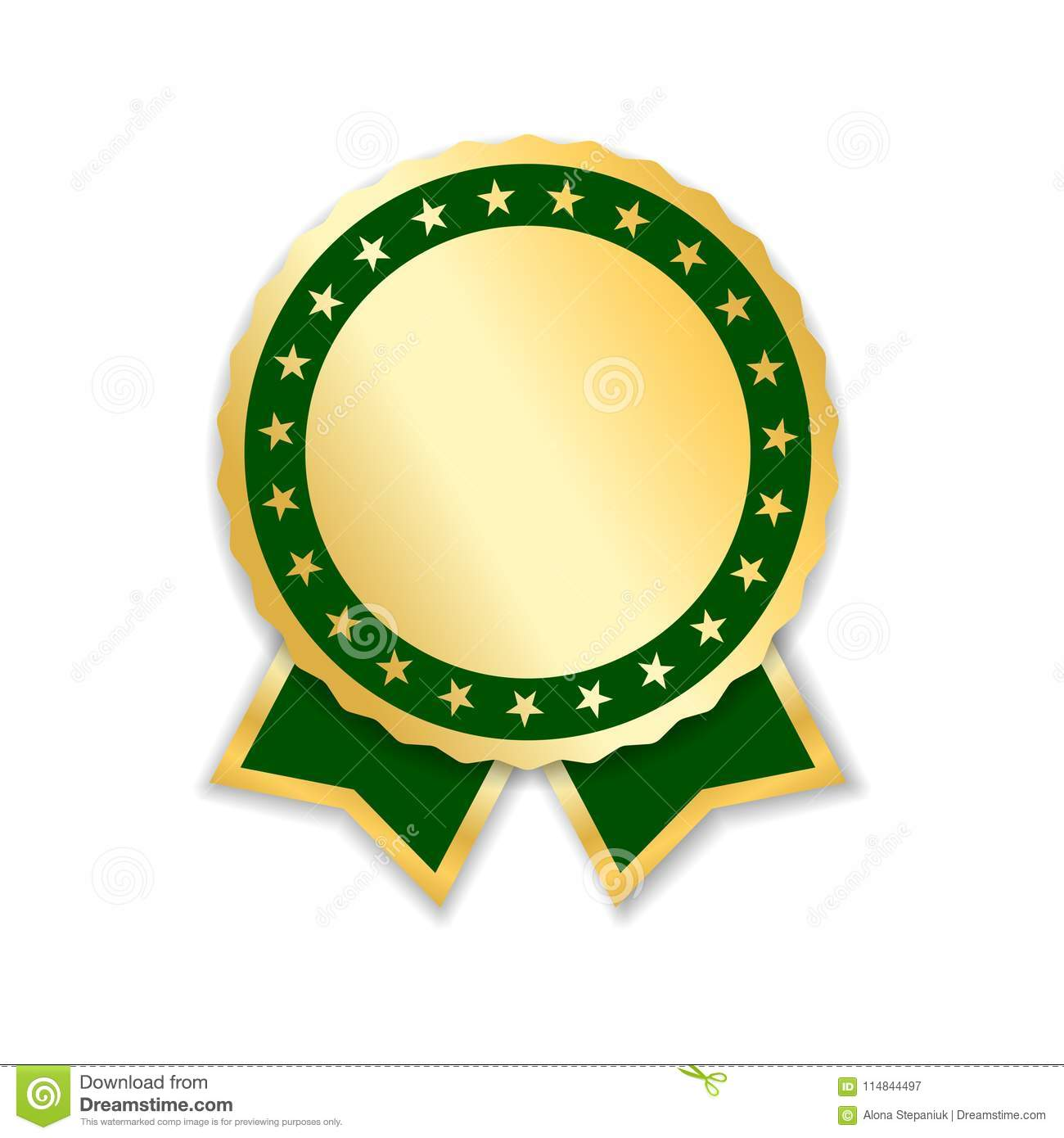 Award ribbon isolated. Gold green design medal, label, badge, certificate. Symbol best sale, price, quality, guarantee
