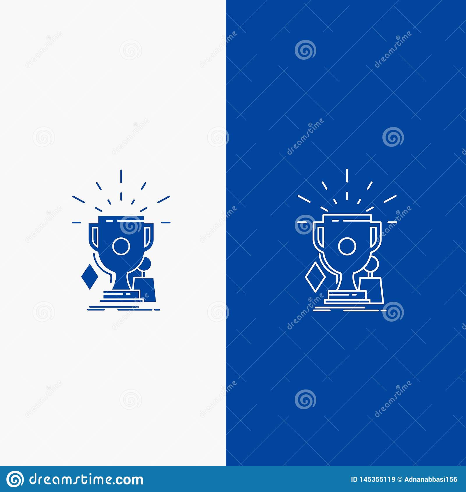 Awards, game, sport, trophies, winner Line and Glyph web Button in Blue color Vertical Banner for UI and UX, website or mobile. Application. Vector EPS10 royalty free stock images