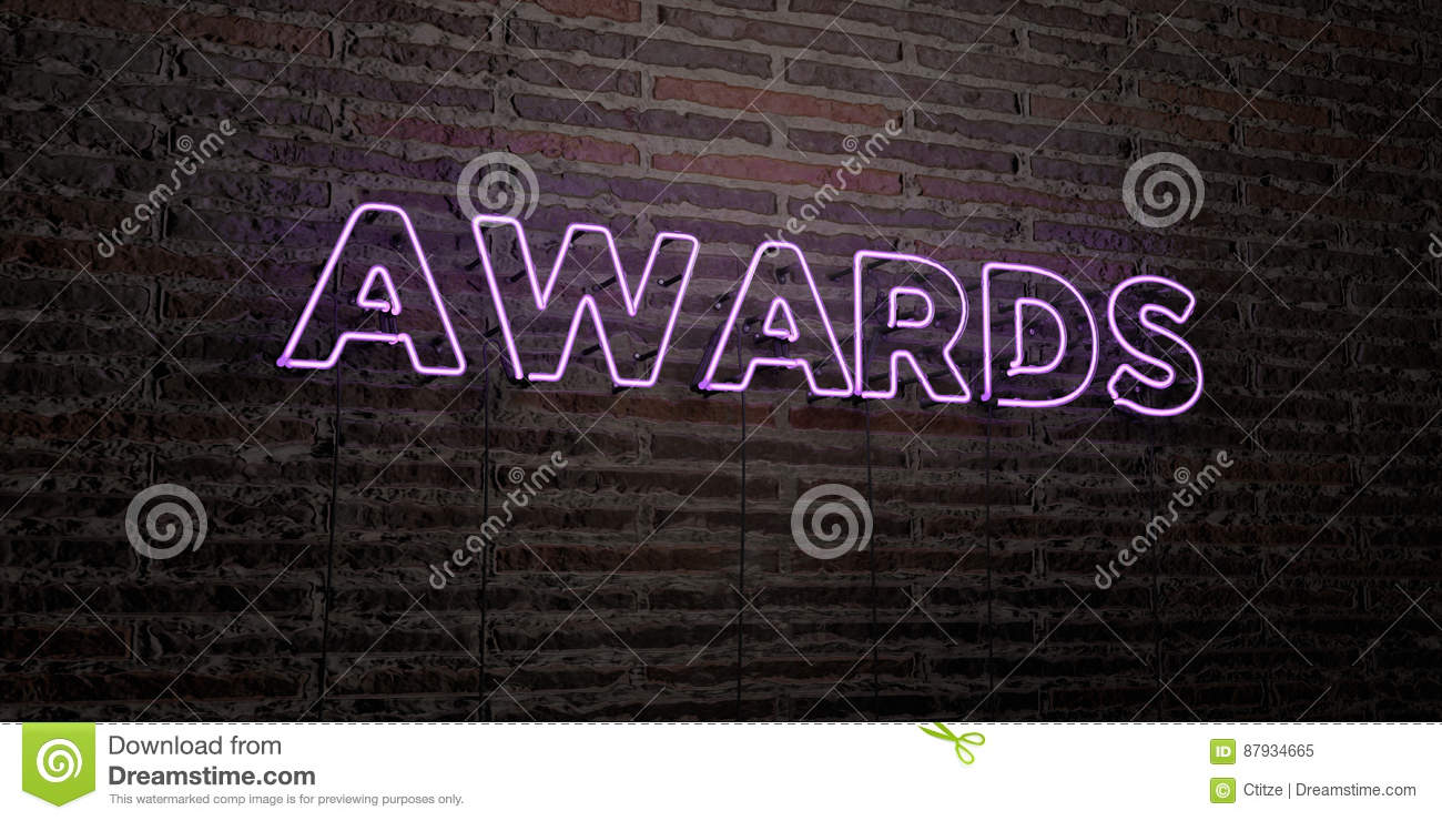 awards realistic neon sign on brick wall background 3d rendered royalty free stock image