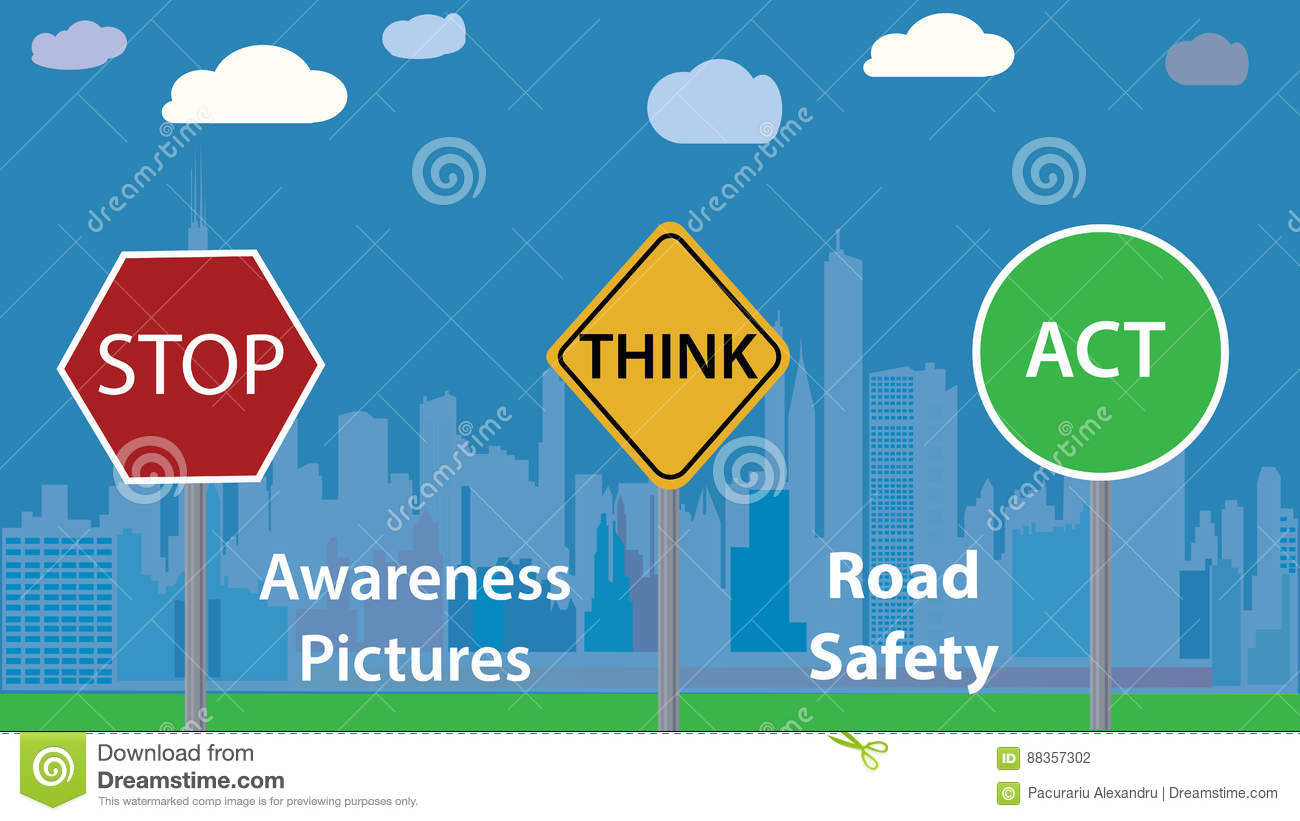 Awareness Photo Vector Illustration Road Safety Message Children Education Poster Stock Vector Illustration Of Driver Accident 88357302