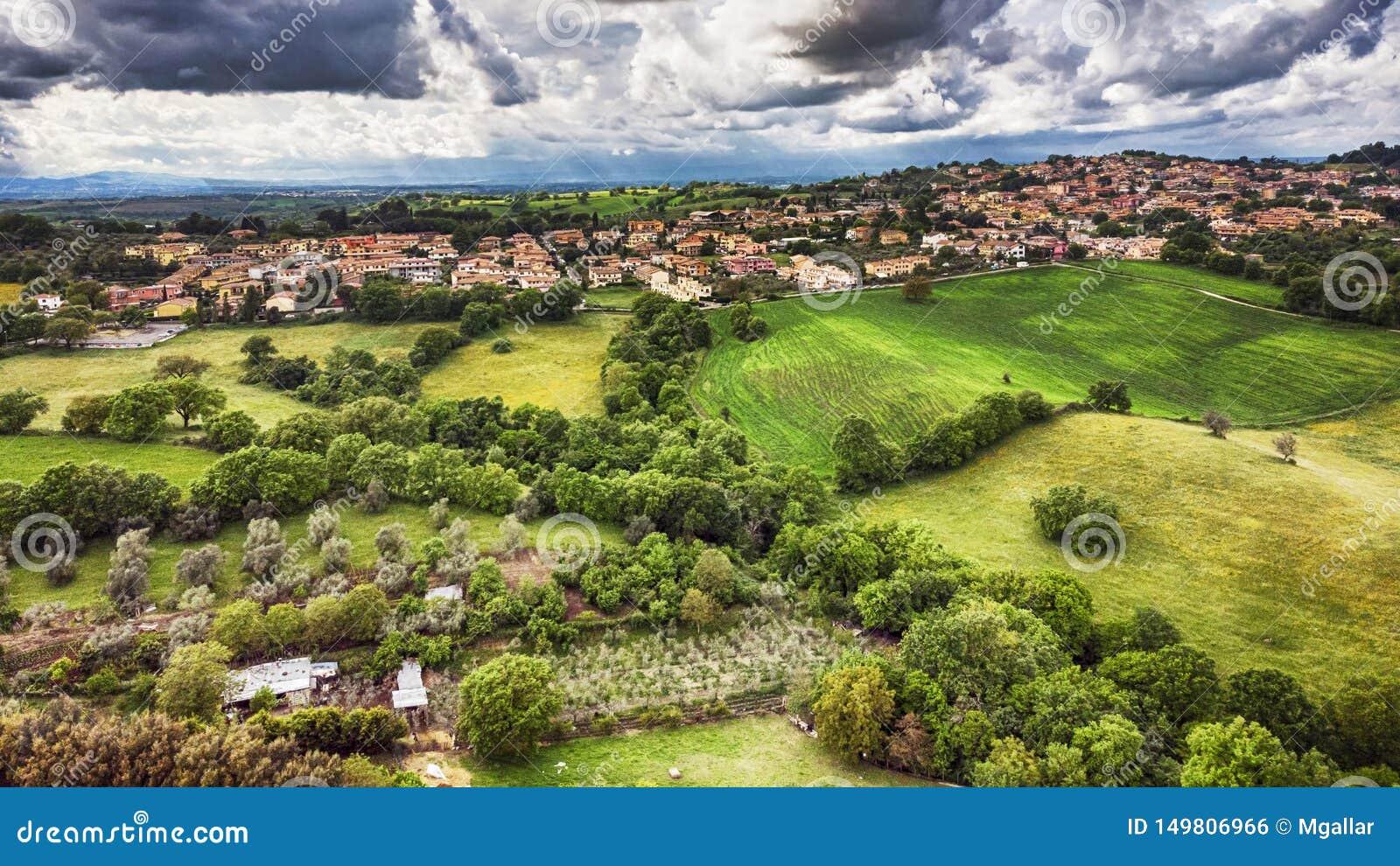 Showroom It Rignano Flaminio awe aerial view from green hills of rignano flaminio village