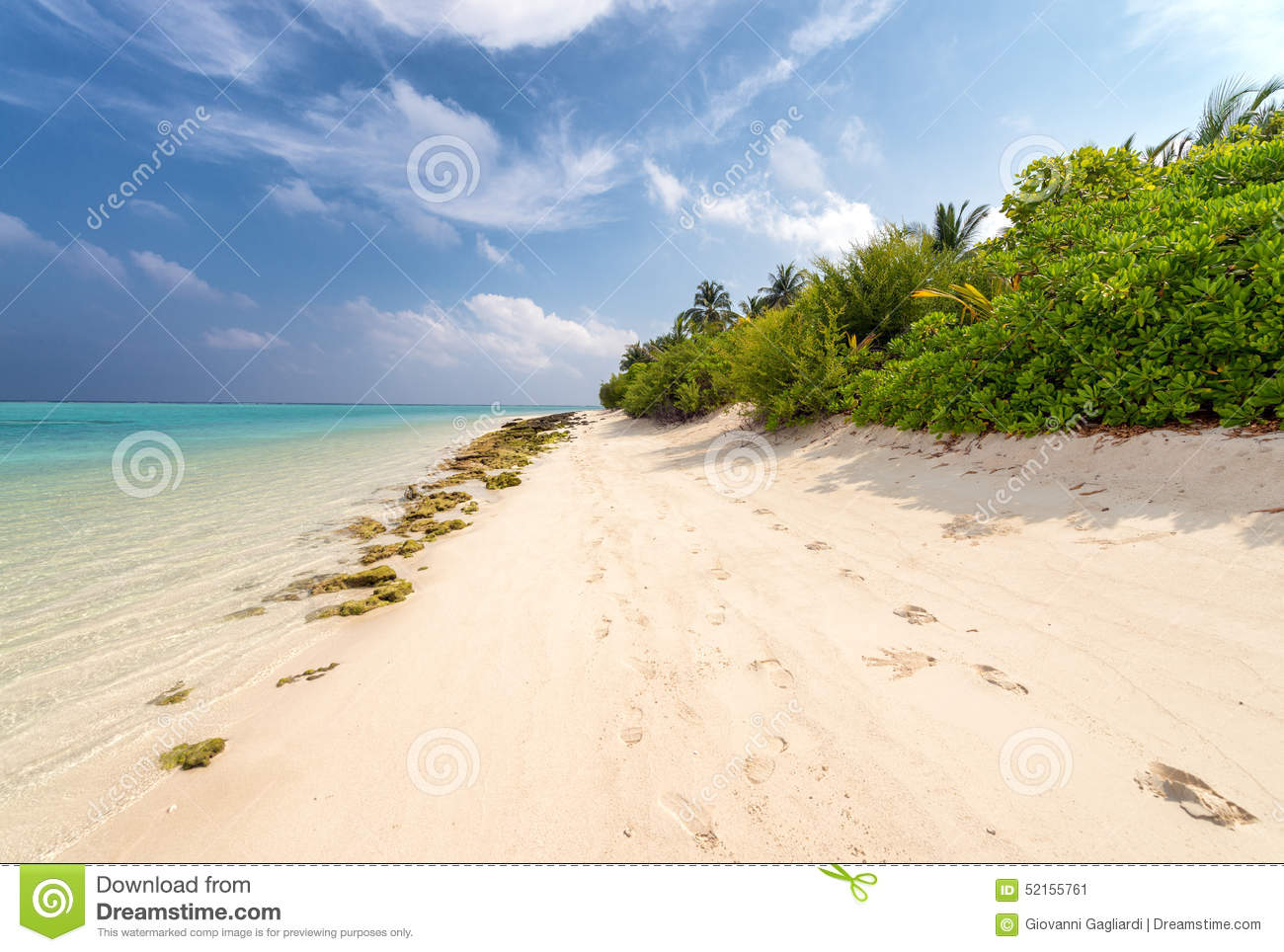 awesome beach of maldives. white sand and turquoise waters stock