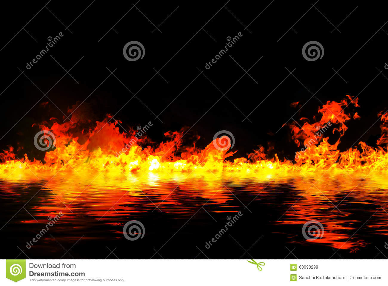 Awesome fire flames with water reflection