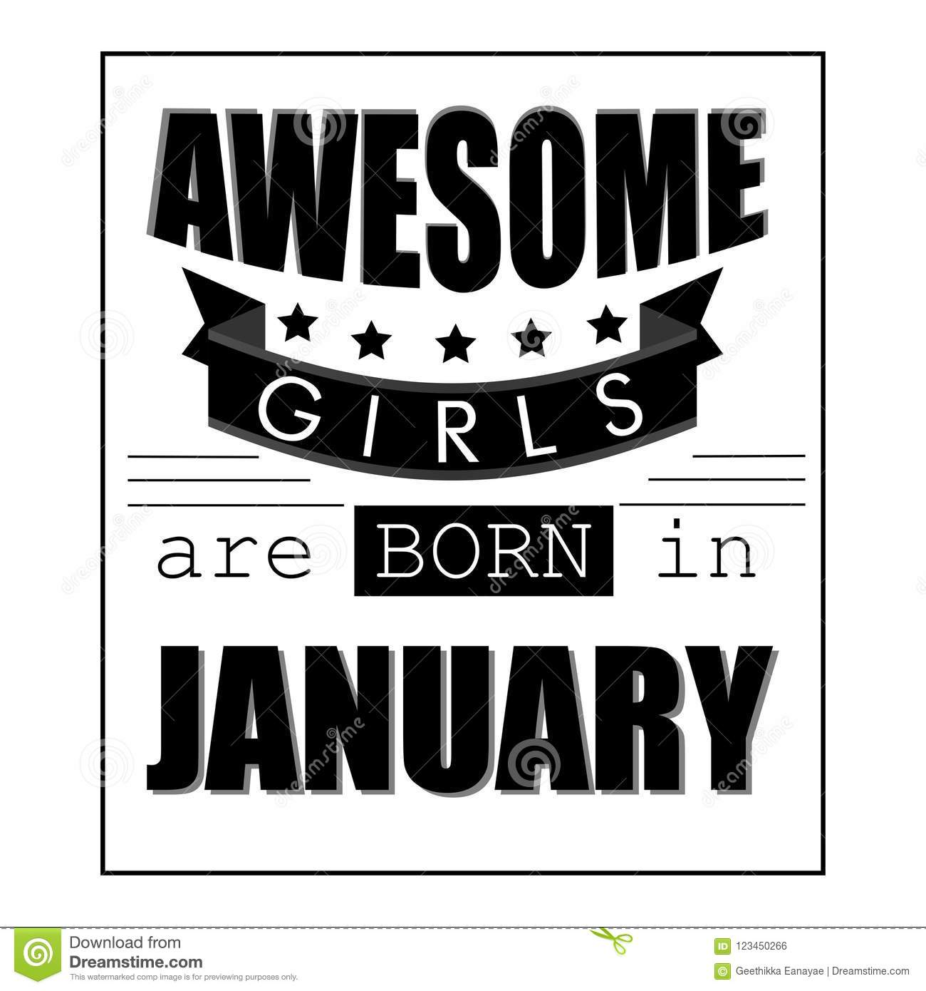 Awesome Girls Are Born In January T Shirt Design, Black And White ...