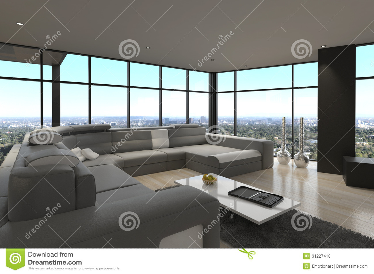 Awesome modern loft living room architecture interior stock