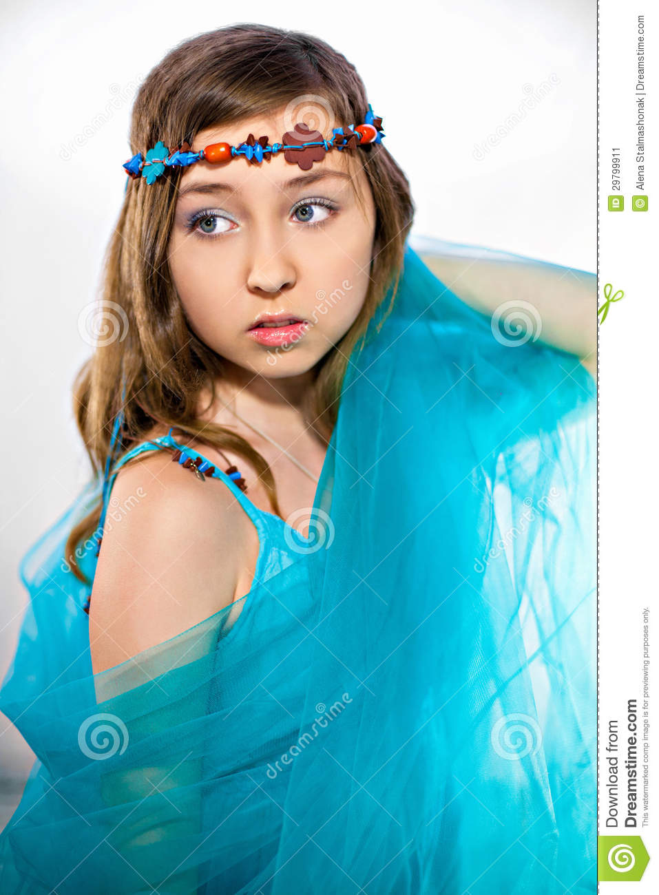 Beauty In Turquoise Stock Image. Image Of Happy, Hair