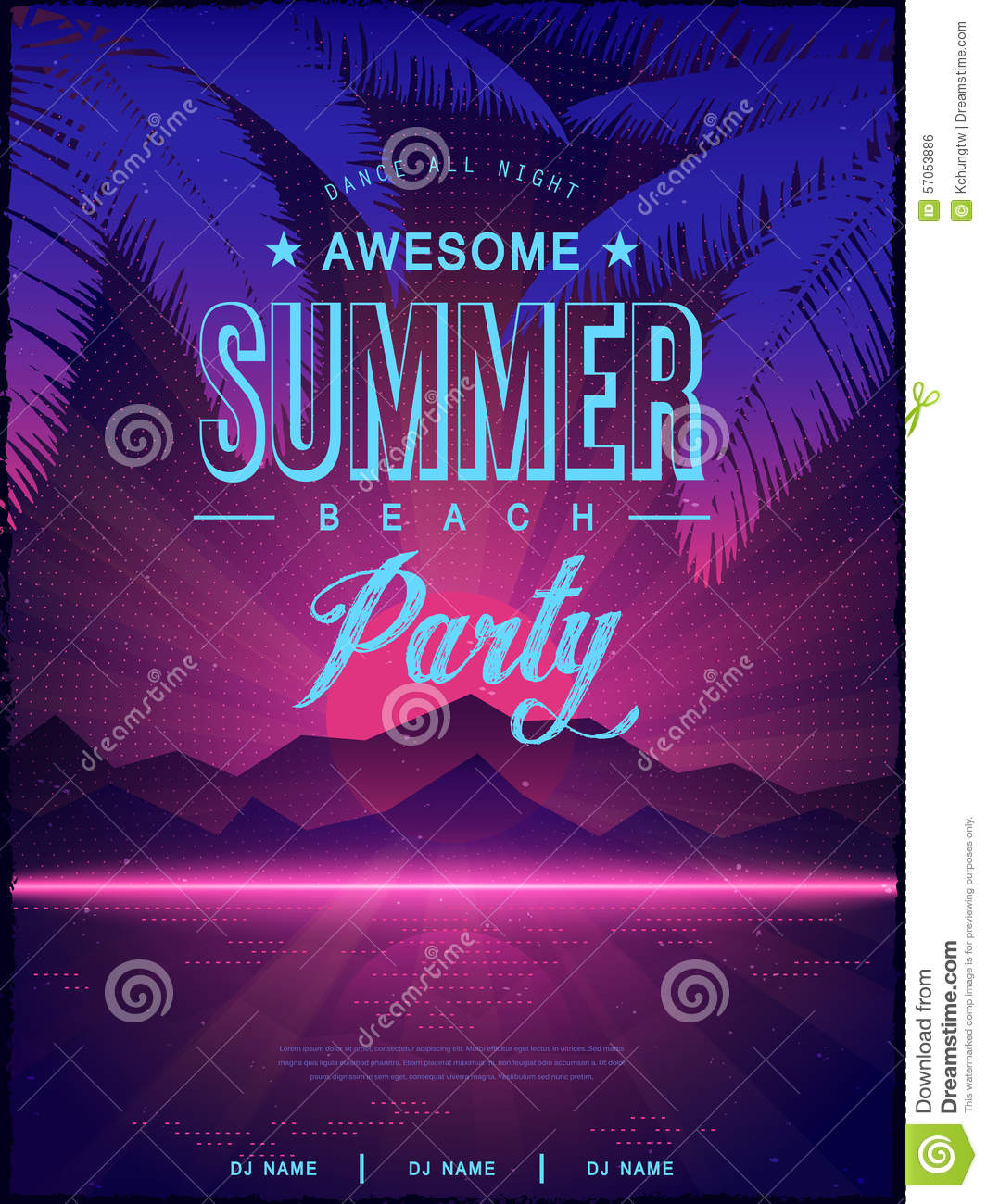 awesome summer beach party poster design stock vector illustration