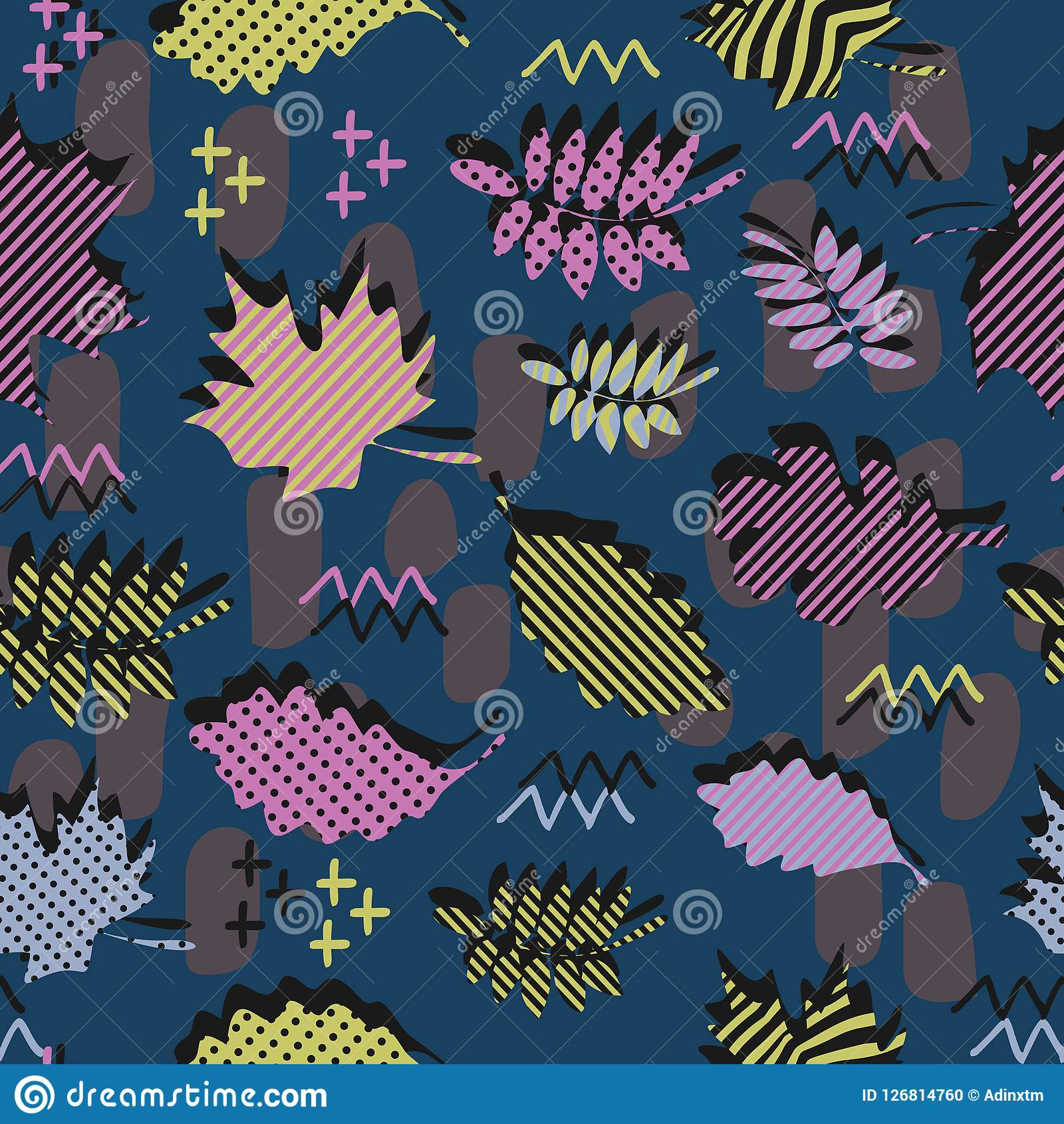 Awesome unique autumn fall foliage vector pattern with memphis geometric trendy colorful abstract. Maple leaves on hipster multico