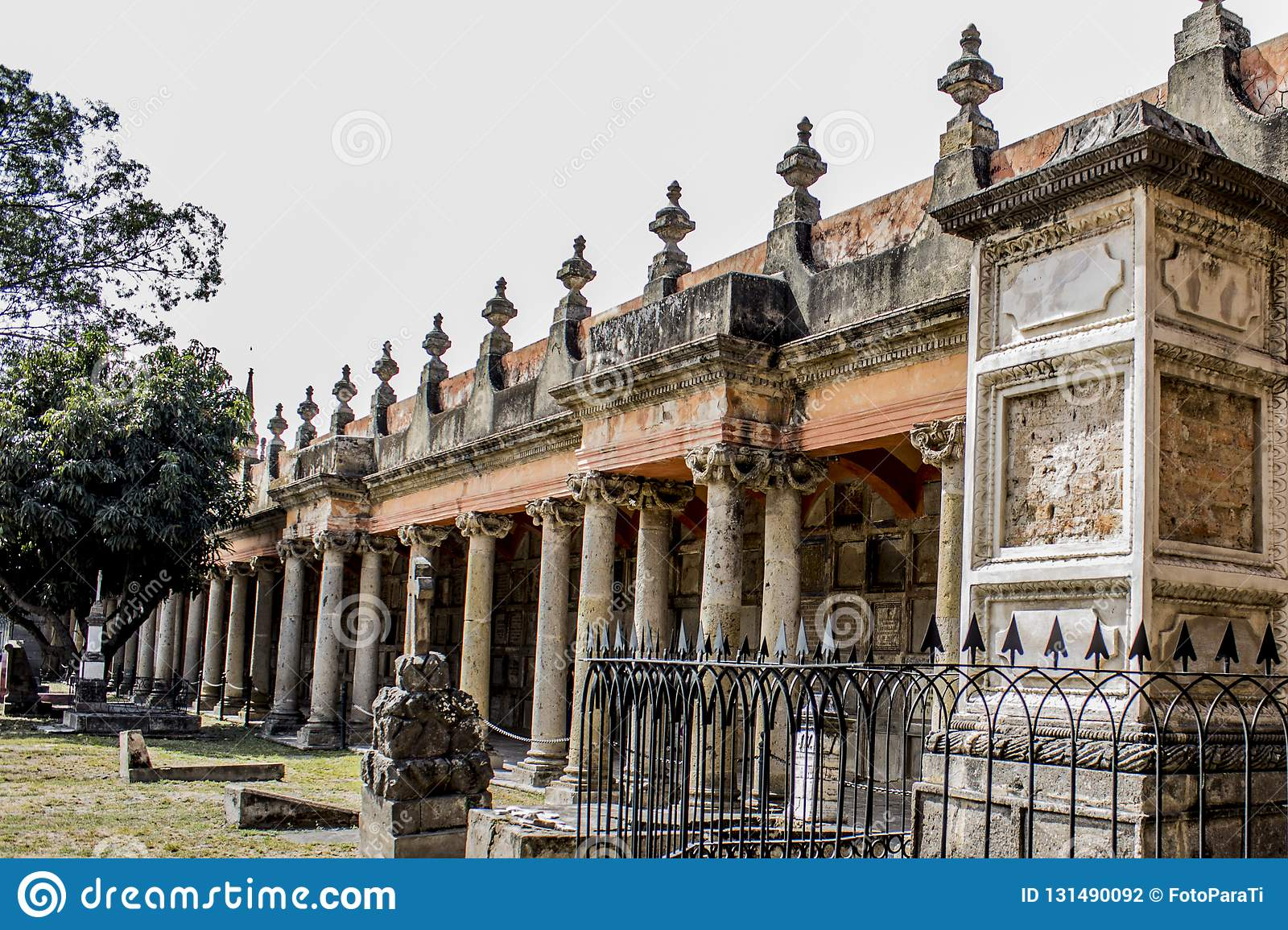 Awesome view of a tombs of the cemetery of Belen in Guadalajara