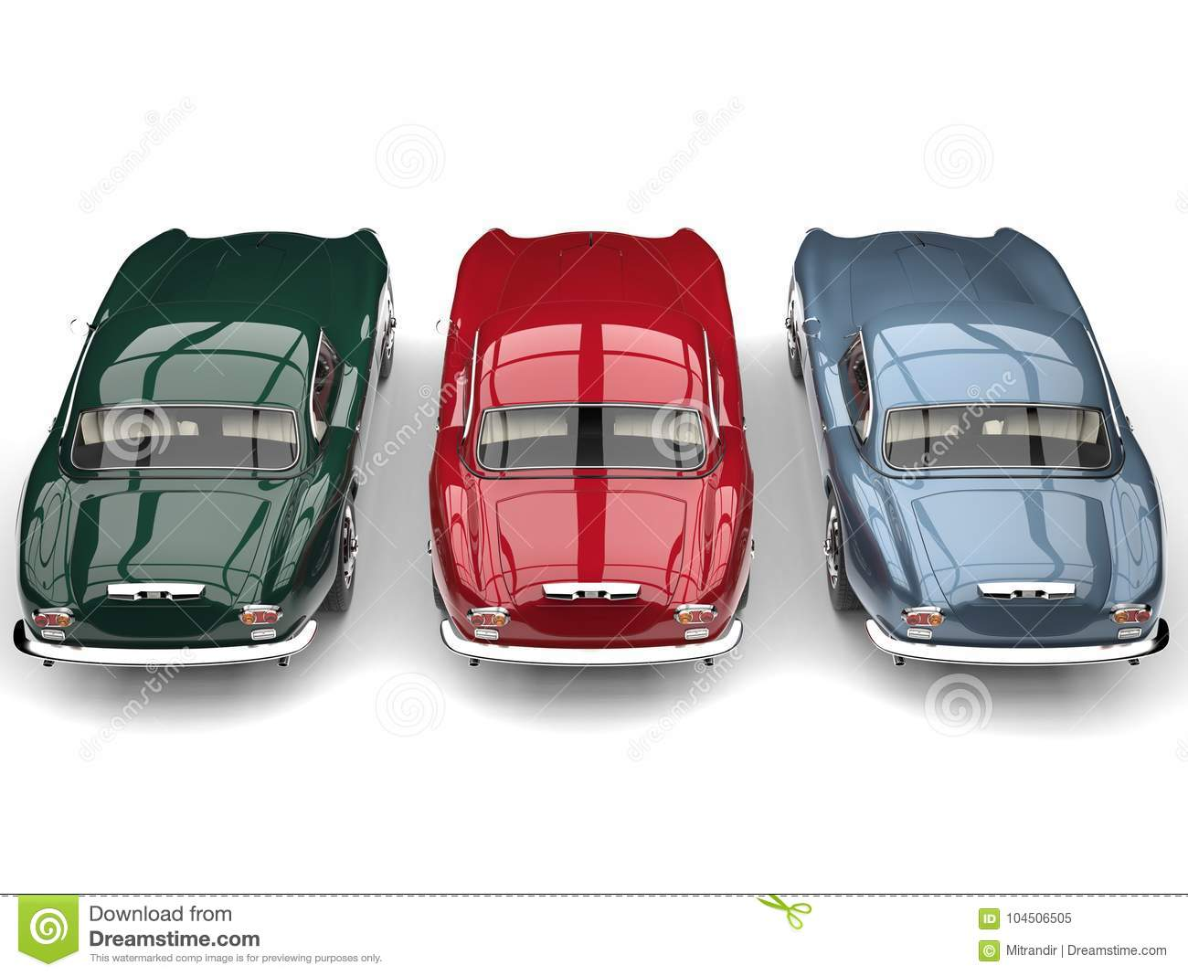 Awesome Vintage Sports Cars Side By Side Top Down Back View Stock Illustration Illustration Of Speed Restoring 104506505