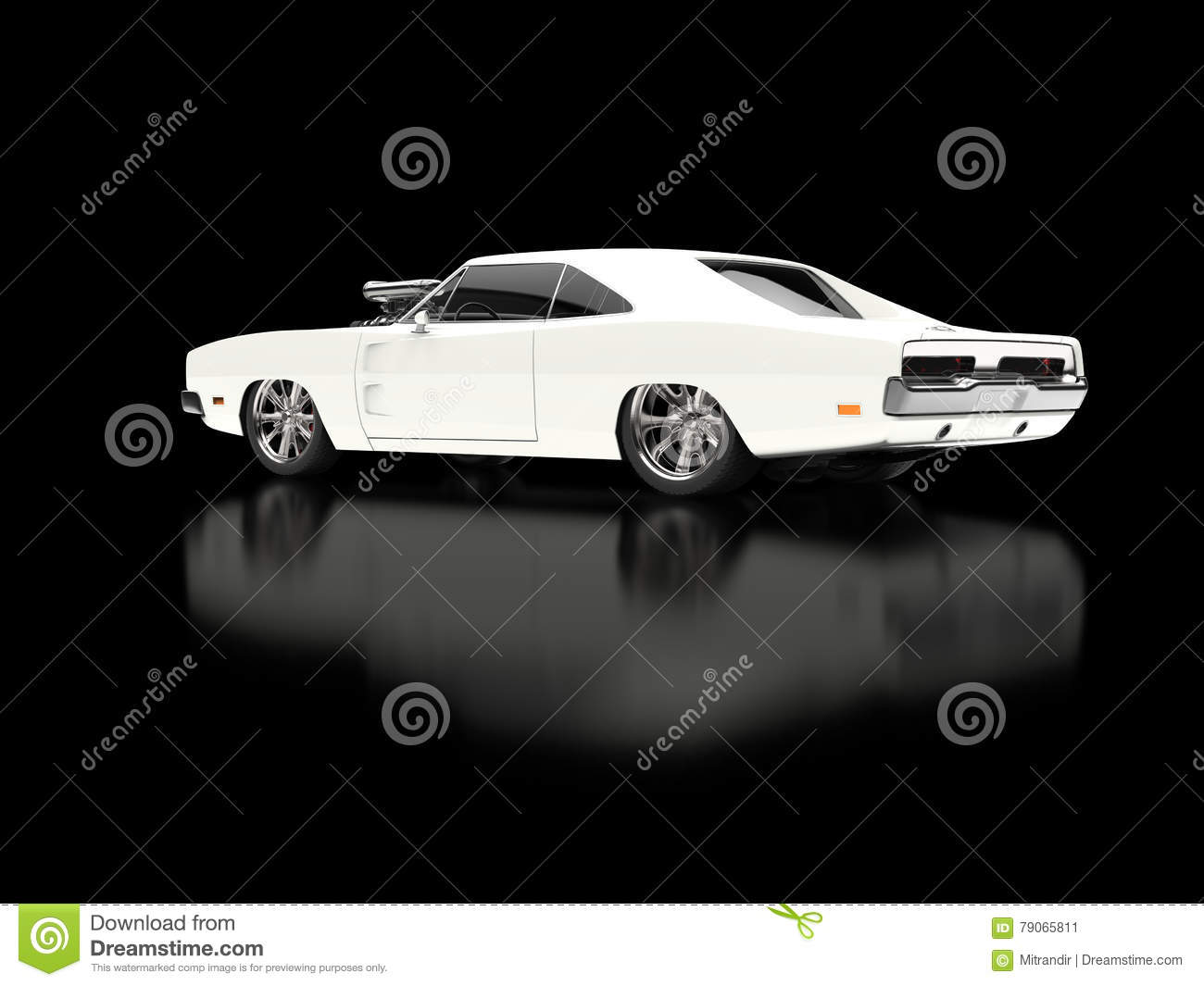 Awesome Vintage White Muscle Car On Black Background Stock