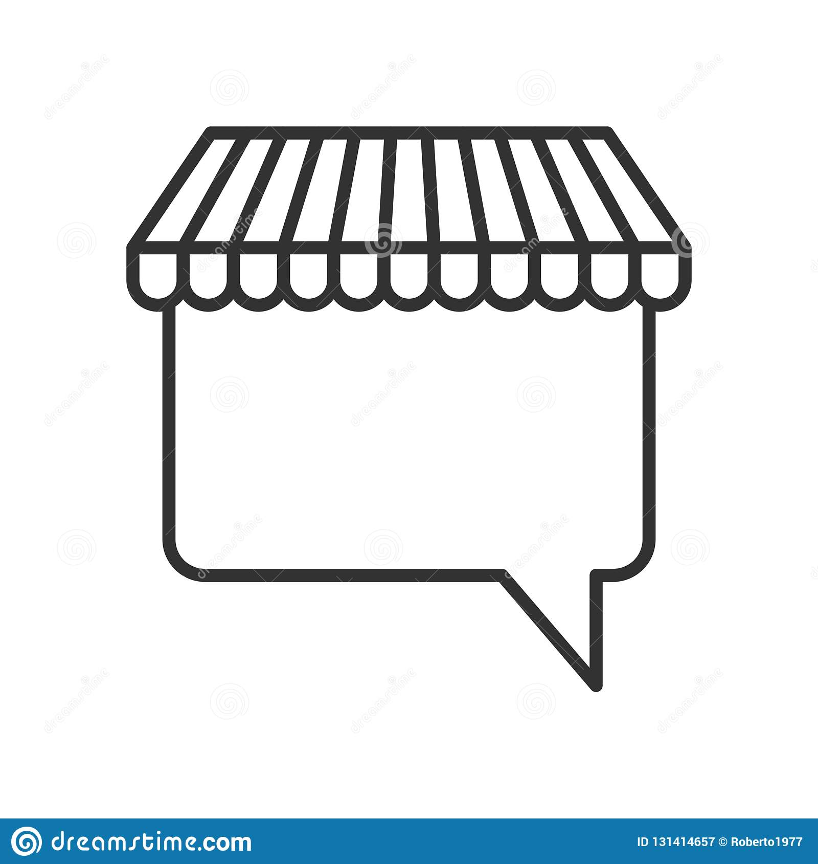 Awning Speech Bubble Outline Flat Icon