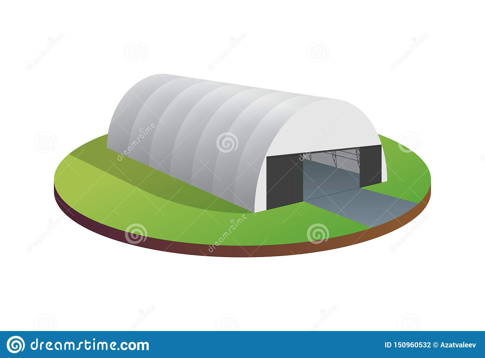 Awning tarpaulin tent temporary warehouse exhibition tunnel hall aircraft hangar. Barn construction building wireframe