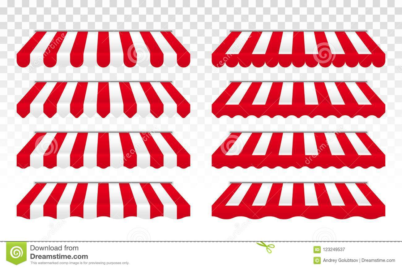 Awning Tent With Vector Red And White Stripes Stock Vector