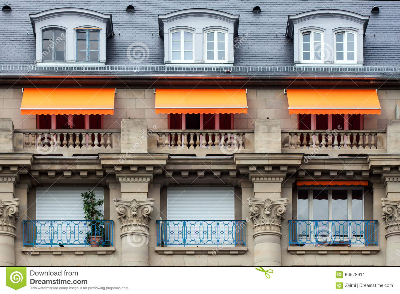 Awnings on the balconies