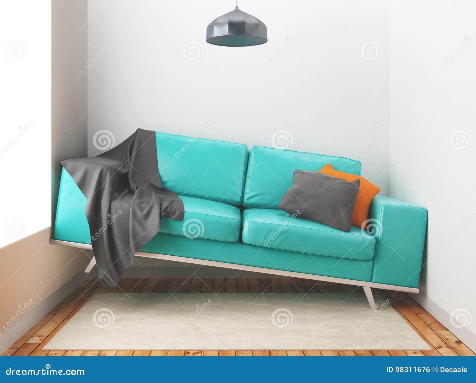 Awry sofa, big sofa in a small room, 3d render illustration