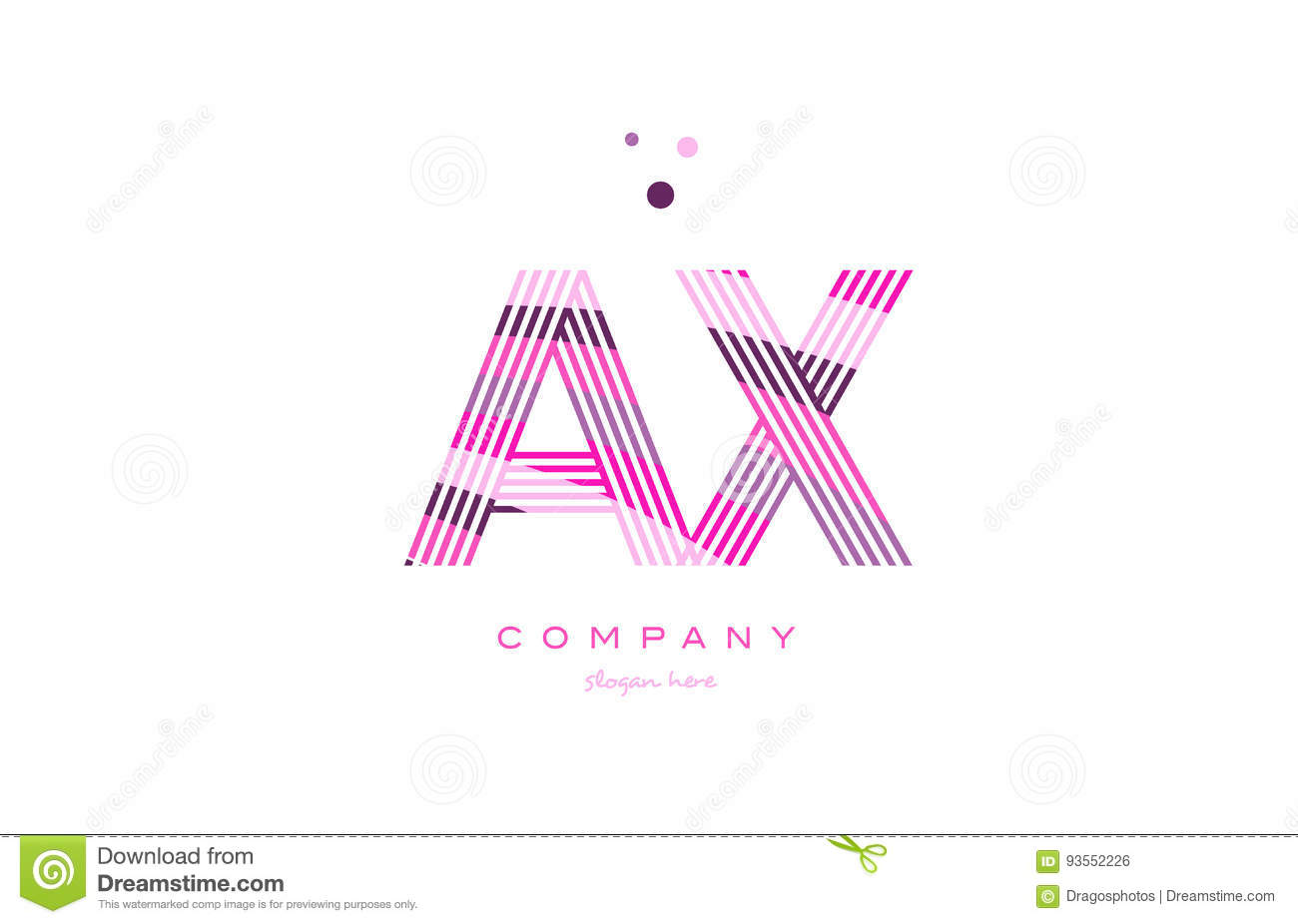 ax a x alphabet letter logo pink purple line icon template vector