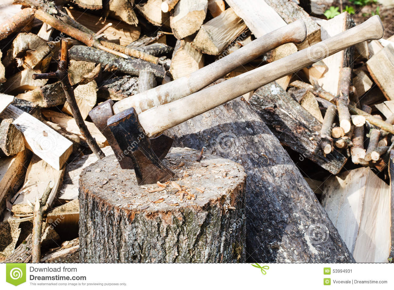 Axe in chopping block and firewood ax pile of royalty