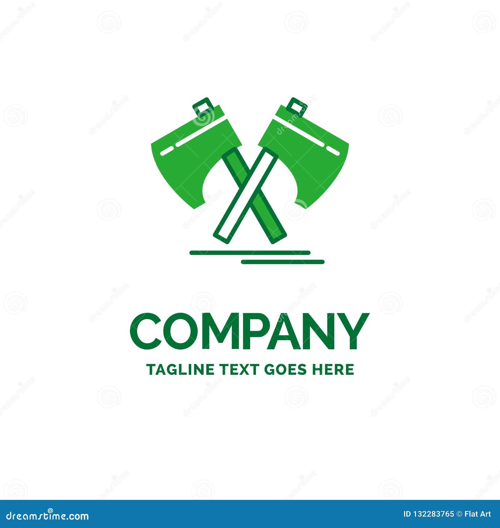 f56813da37134 Axe, hatchet, tool, cutter, viking Flat Business Logo template. Creative  Green Brand Name Design. More similar stock illustrations