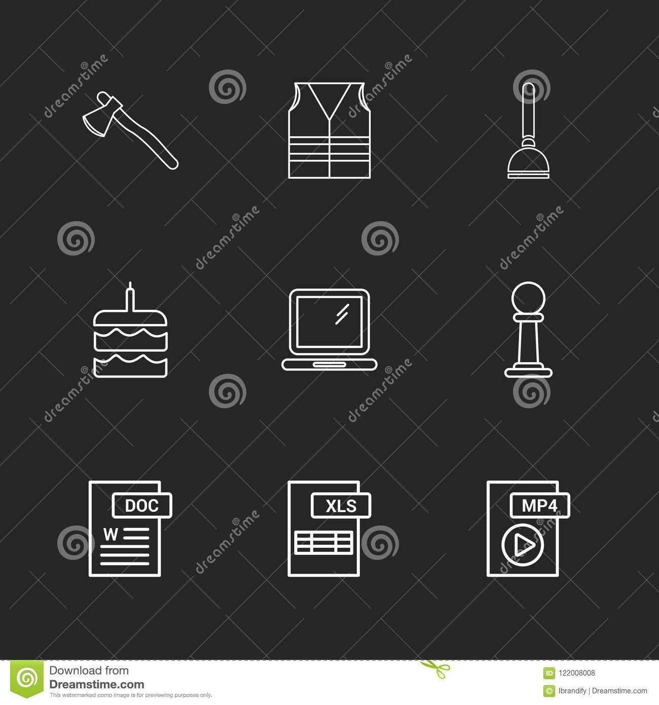 Axe , Safety Jacket , Pump , Cake , Word Document , Laptop , Mp4