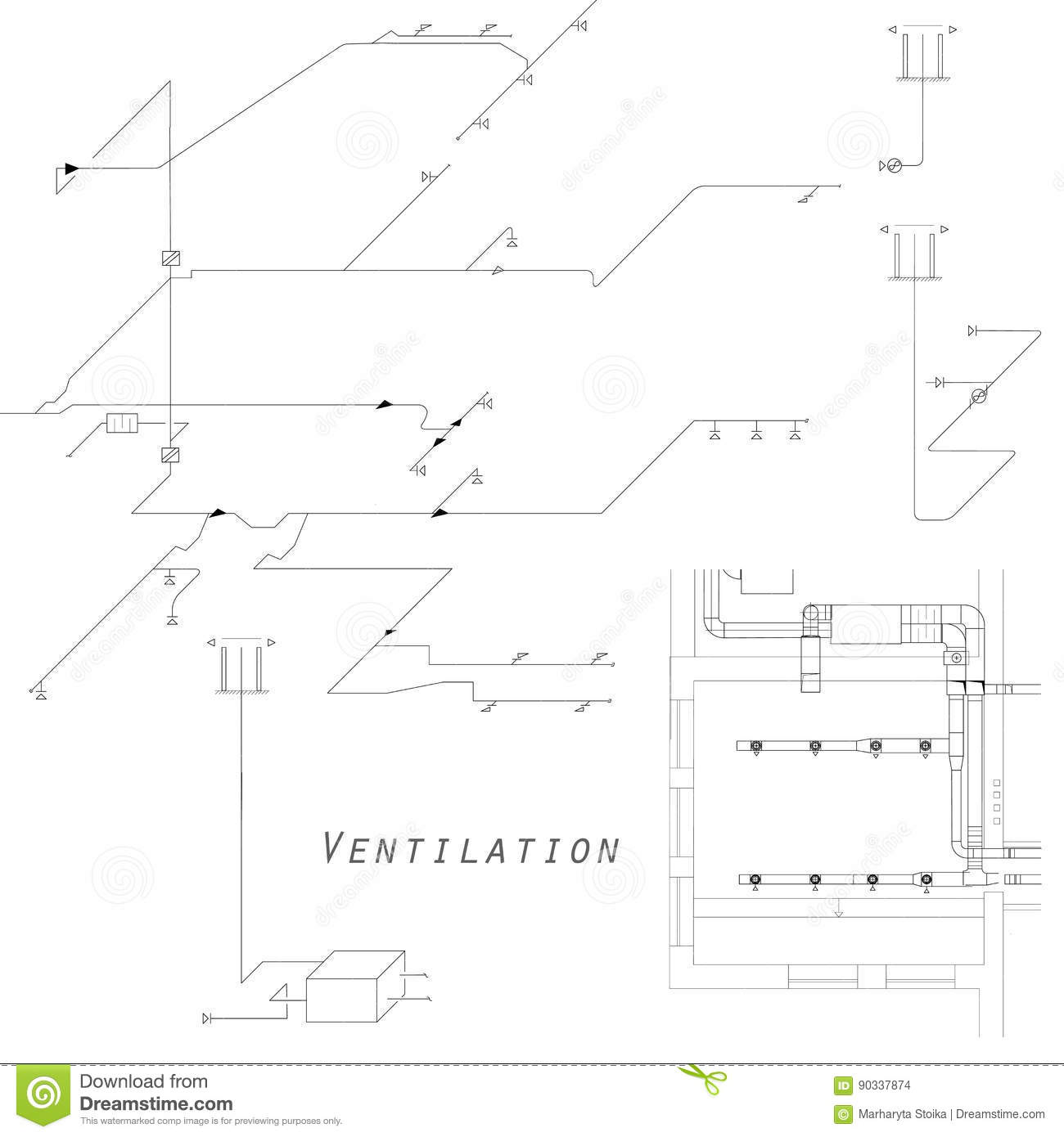 Hvac Isometric Drawing Wiring Diagram Ducting Pictures Libraryaxonometric View Of The Ventilation System Vector Design For Ducts