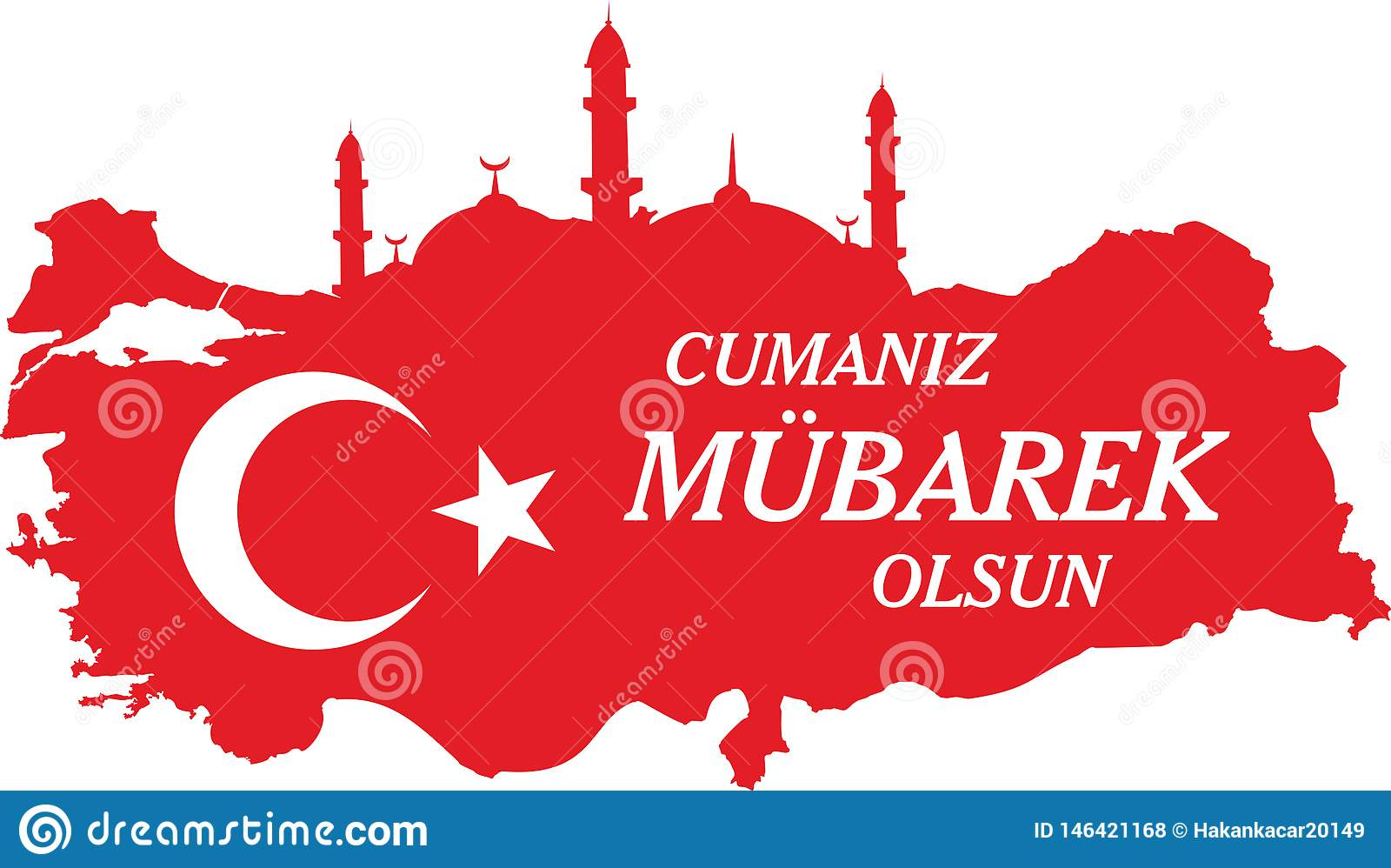 Ayez un turc de Vendredi Saint parlent : Hayirli Cumalar Illustration de vecteur de carte de la Turquie Vecteur du mubarakah de j