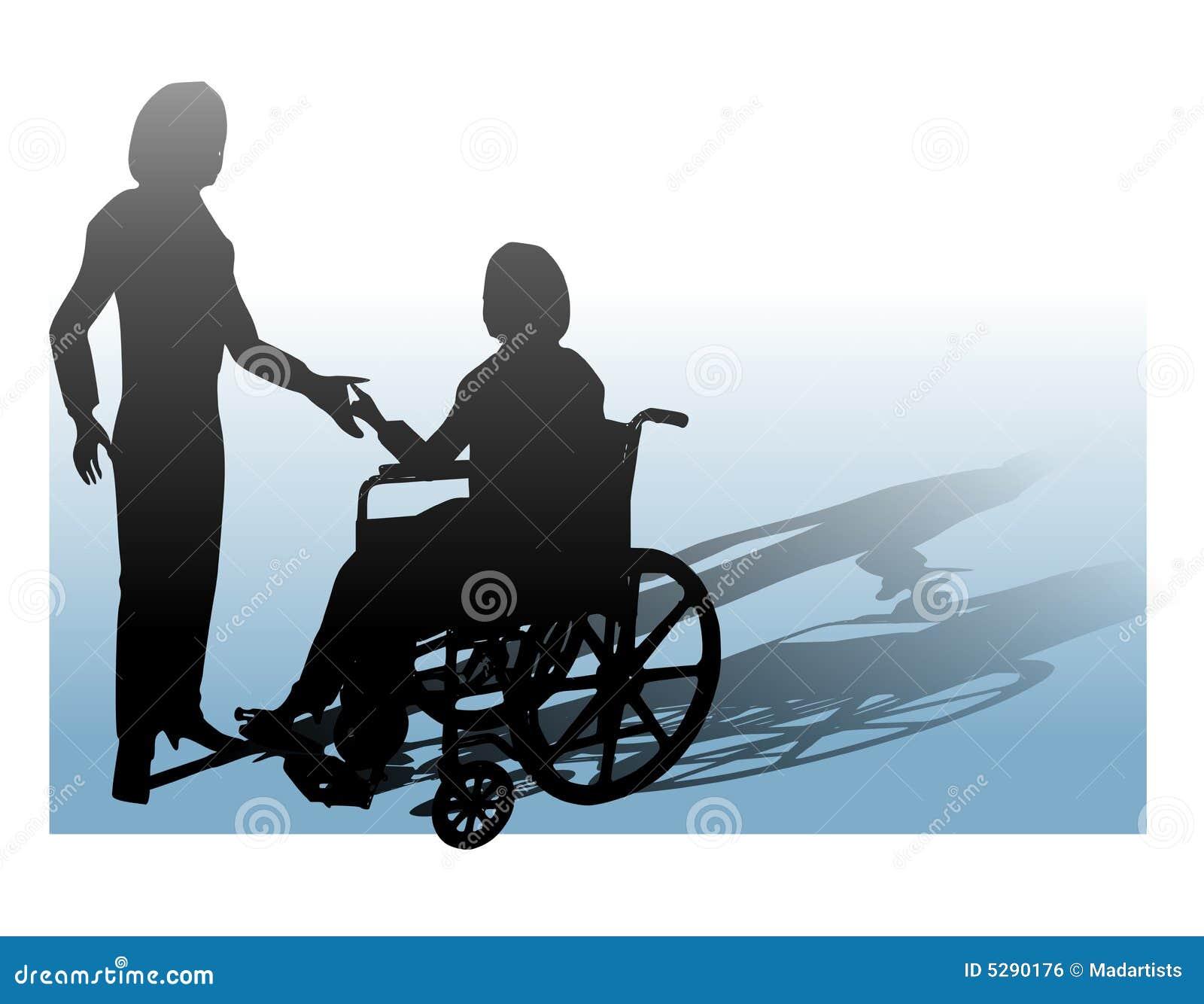 Ayuda de la persona en sillón de ruedas