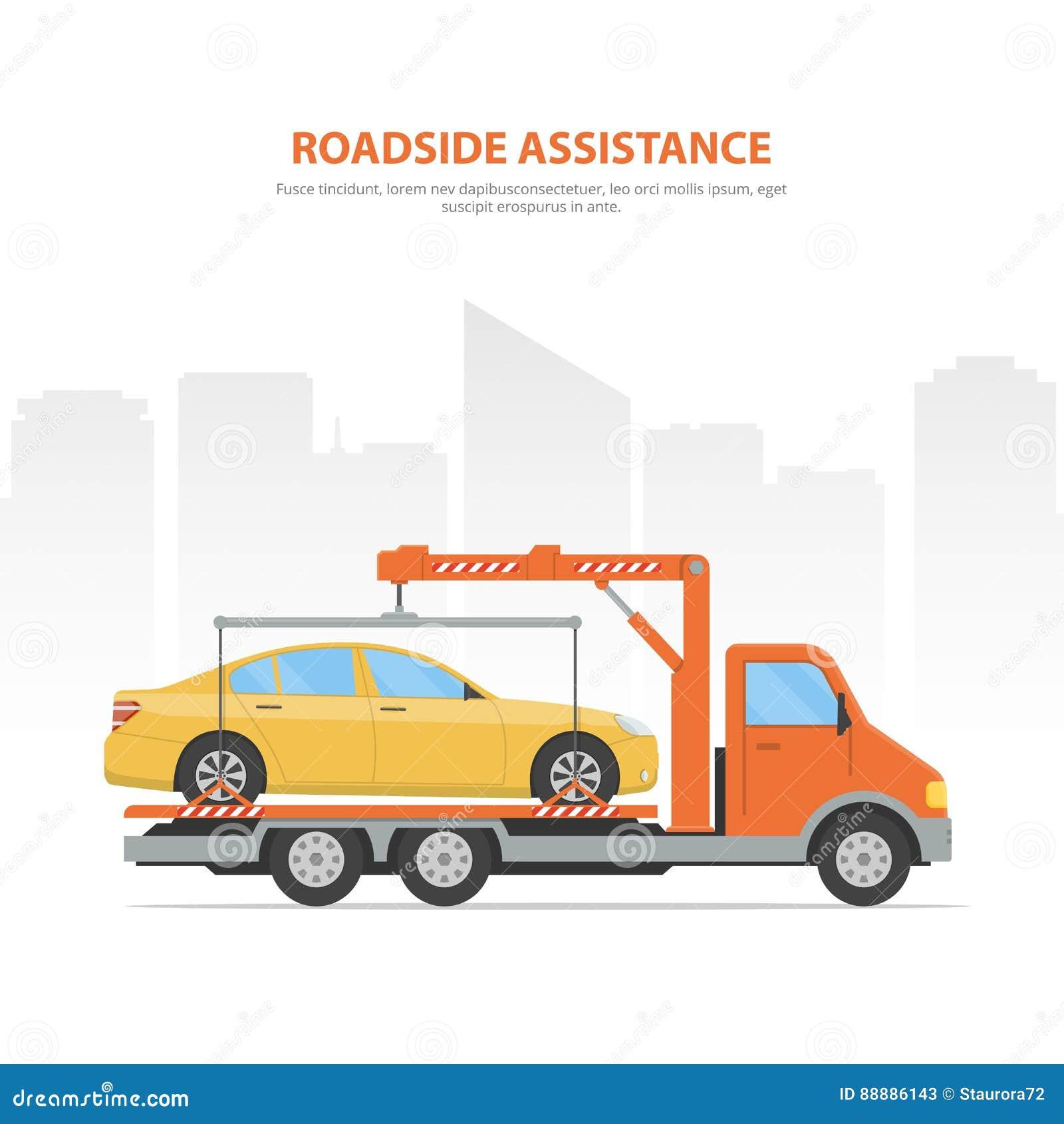 Ayuda del borde de la carretera de la bandera de la historieta Horizonte y grúa de la ciudad con el coche cargado en el fondo bla