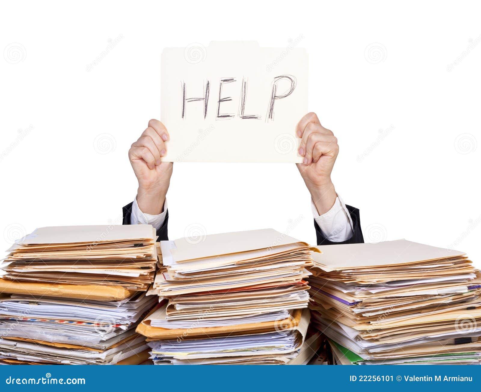 Ayuda - hombre de negocios con exceso de trabajo