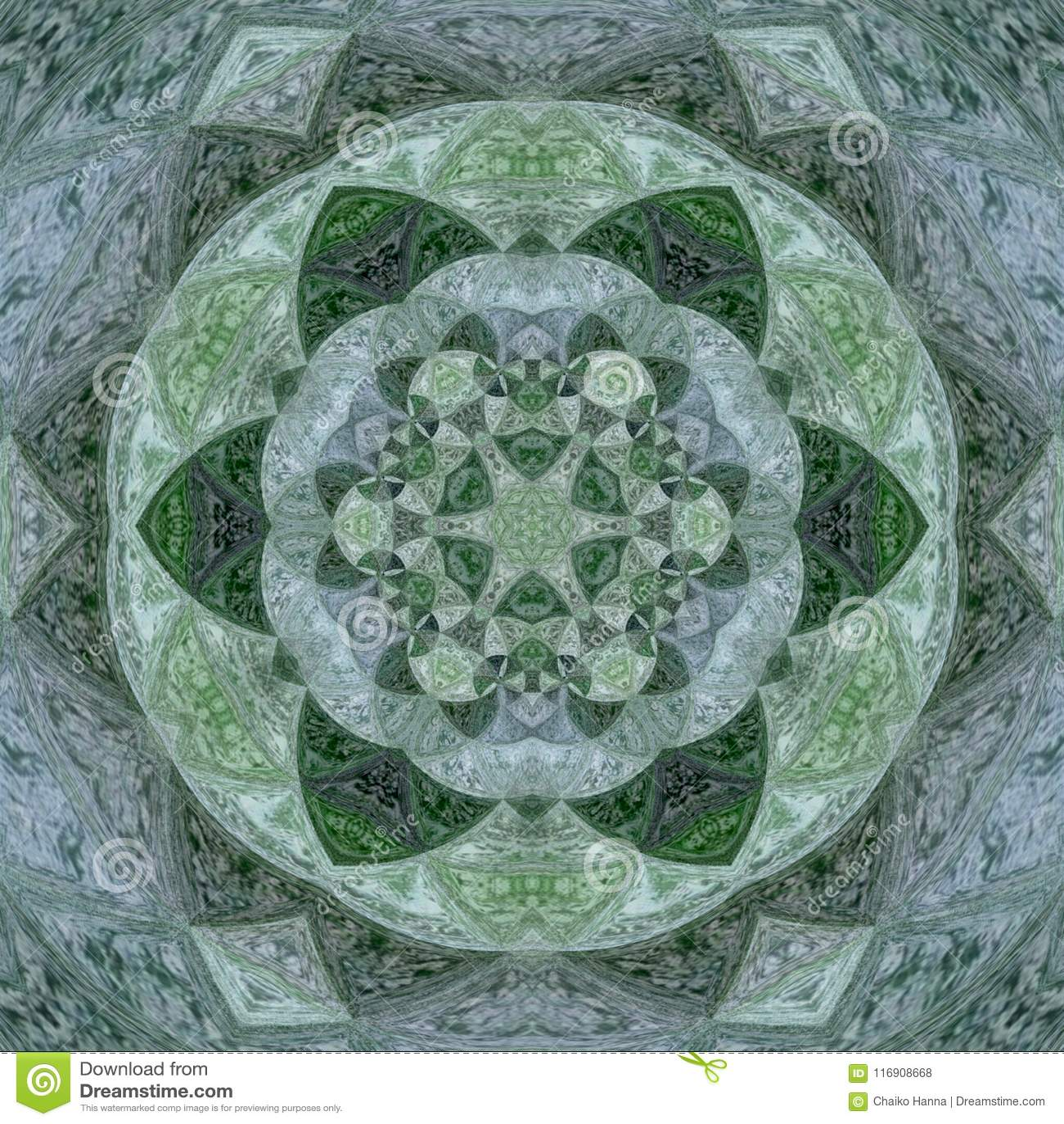 Ayurveda vert, mandala vert avec des aquarelles