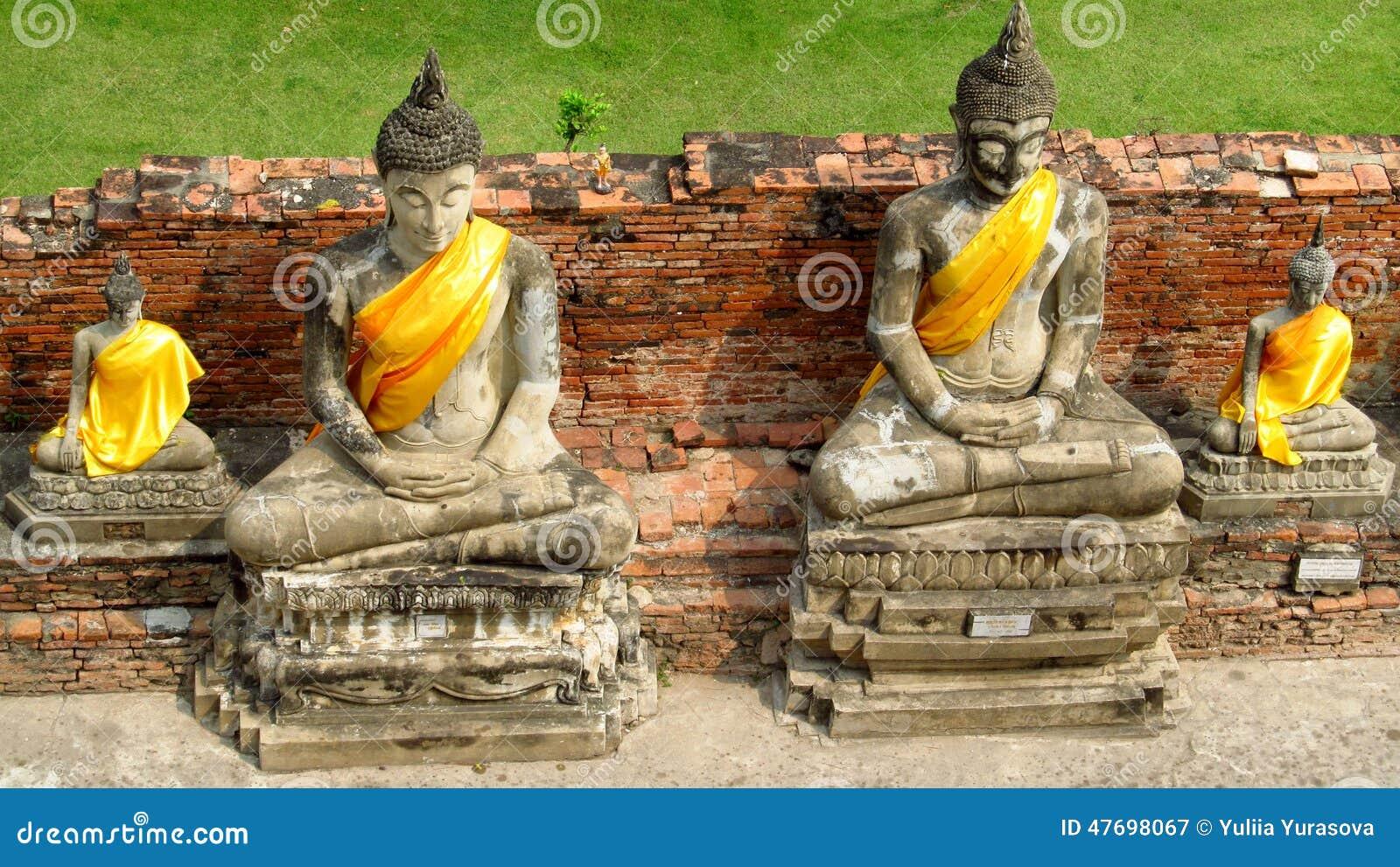 Ayutthaya Ancient City Ruins In Thailand  Buddha Statue