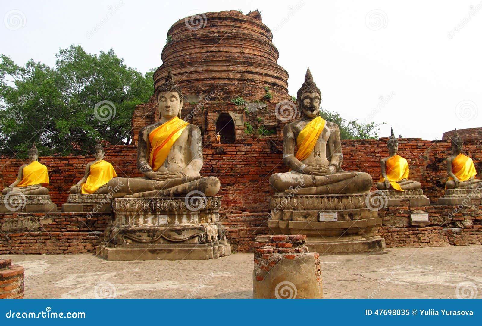 Ayutthaya Ancient City Ruins In Thailand  Buddha Statues