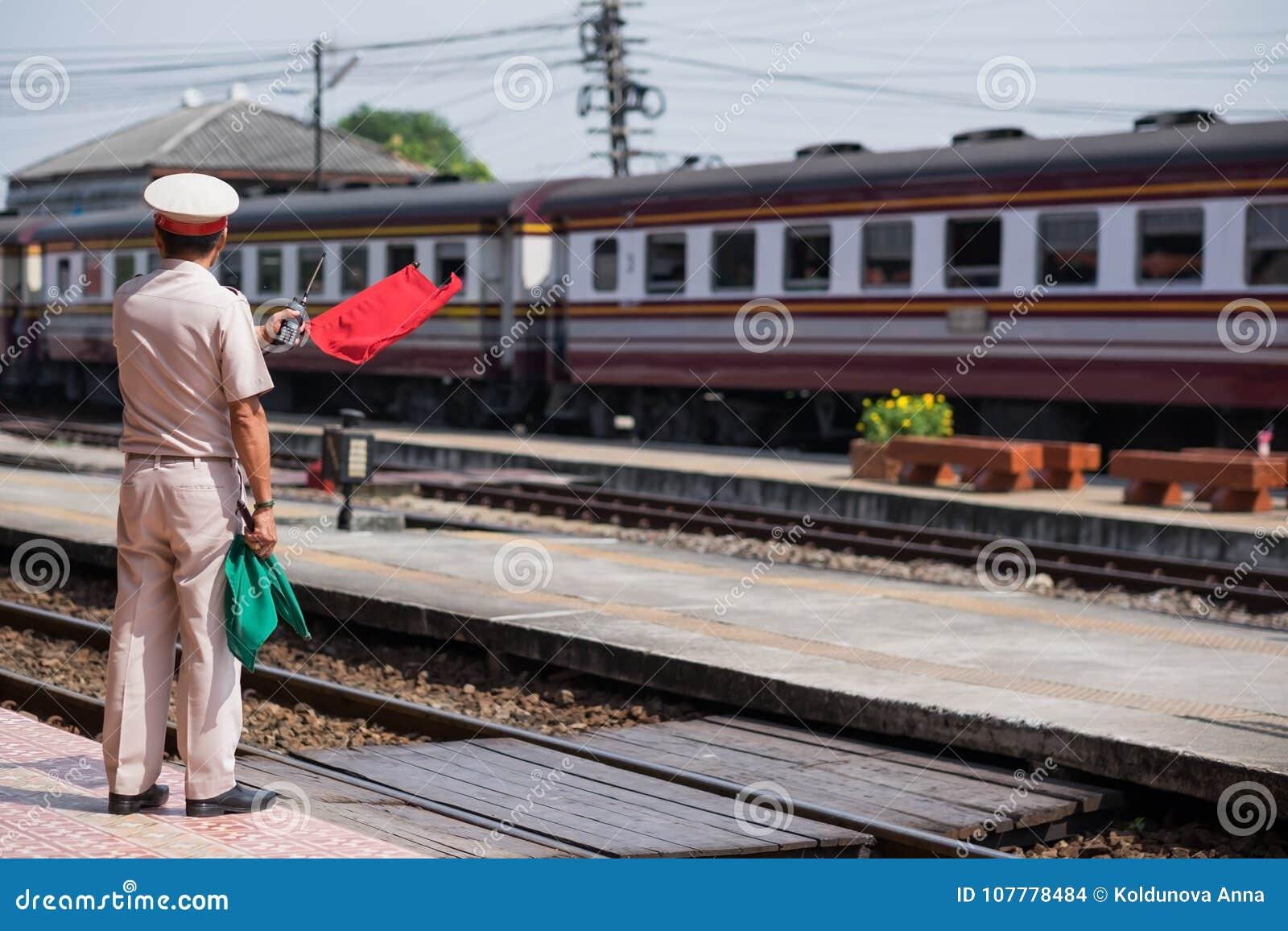 Ayutthaya,Thailand-November 01 2017 :Train Staff Make A