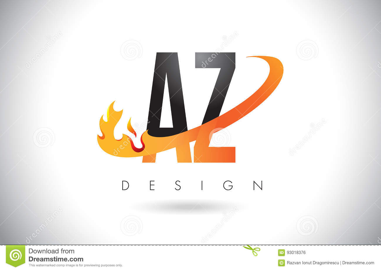 az ein z buchstabe logo mit feuer flammen design und orange swoosh vektor abbildung bild 93018376. Black Bedroom Furniture Sets. Home Design Ideas