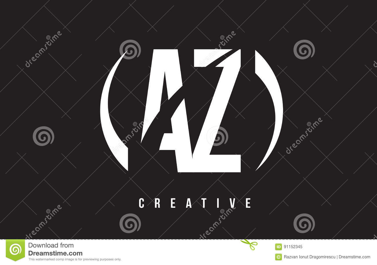 AZ A Z White Letter Logo Design With Black Background ...