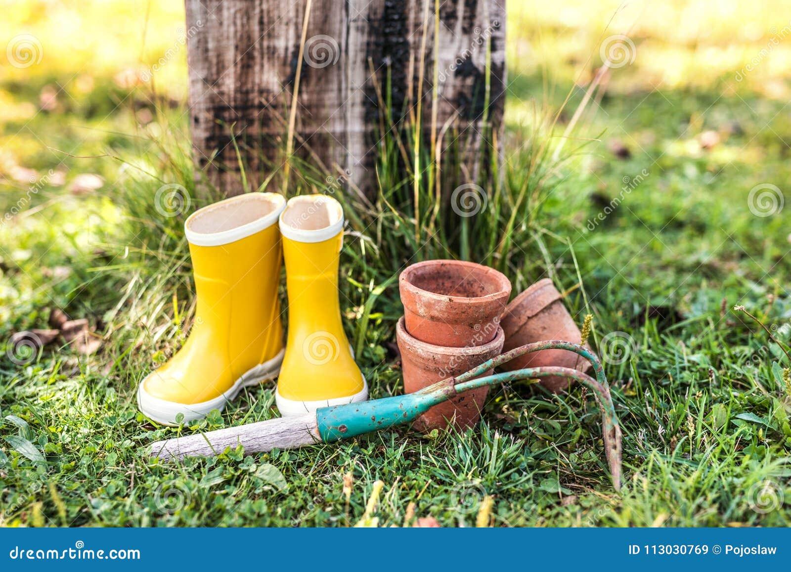 Azadone, las botas de Wellington y las macetas en el jardín