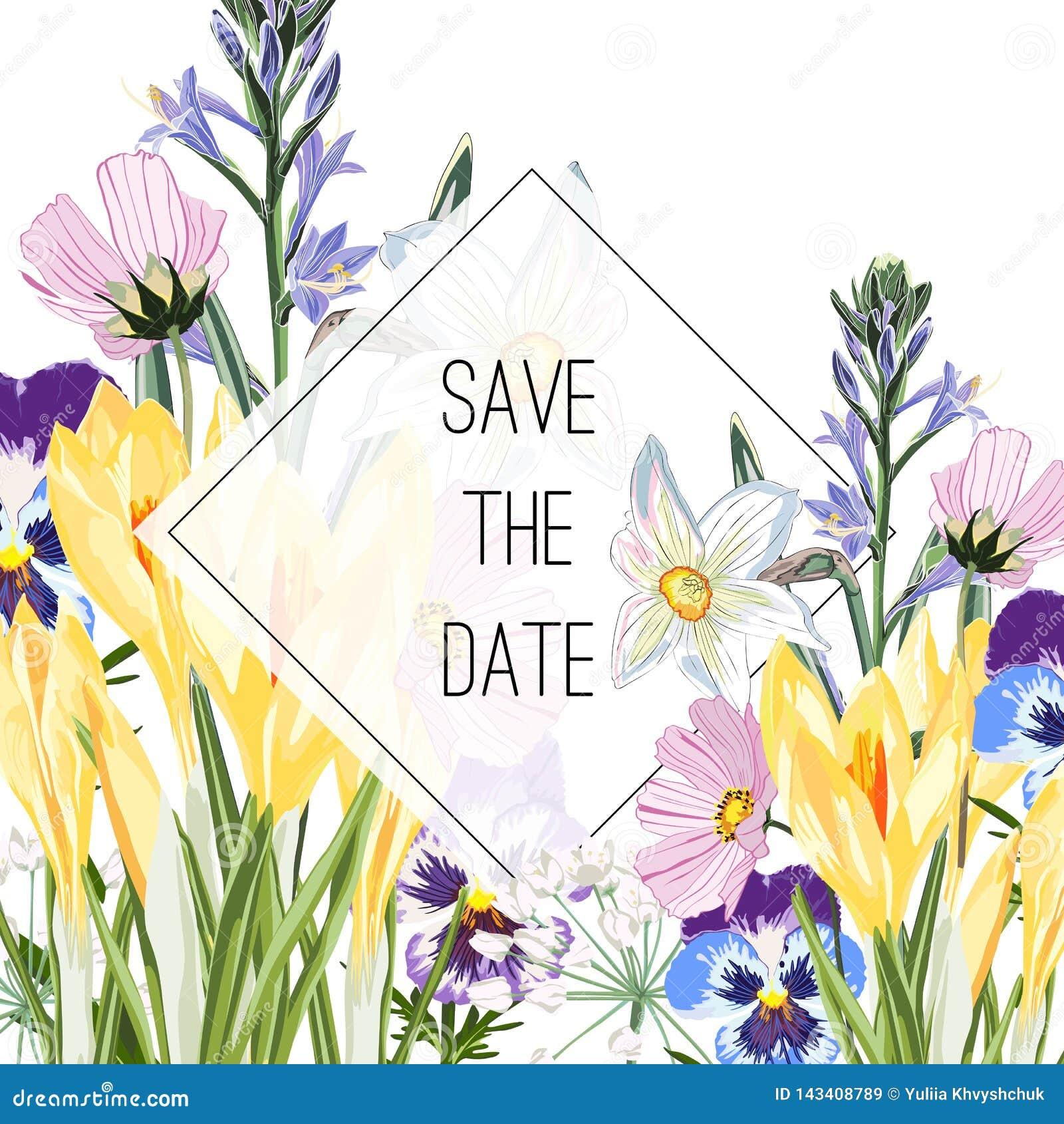 Azafrán salvaje, viola, flores de campanas y ramo de las hierbas, plantilla elegante de la tarjeta El cartel floral, invita