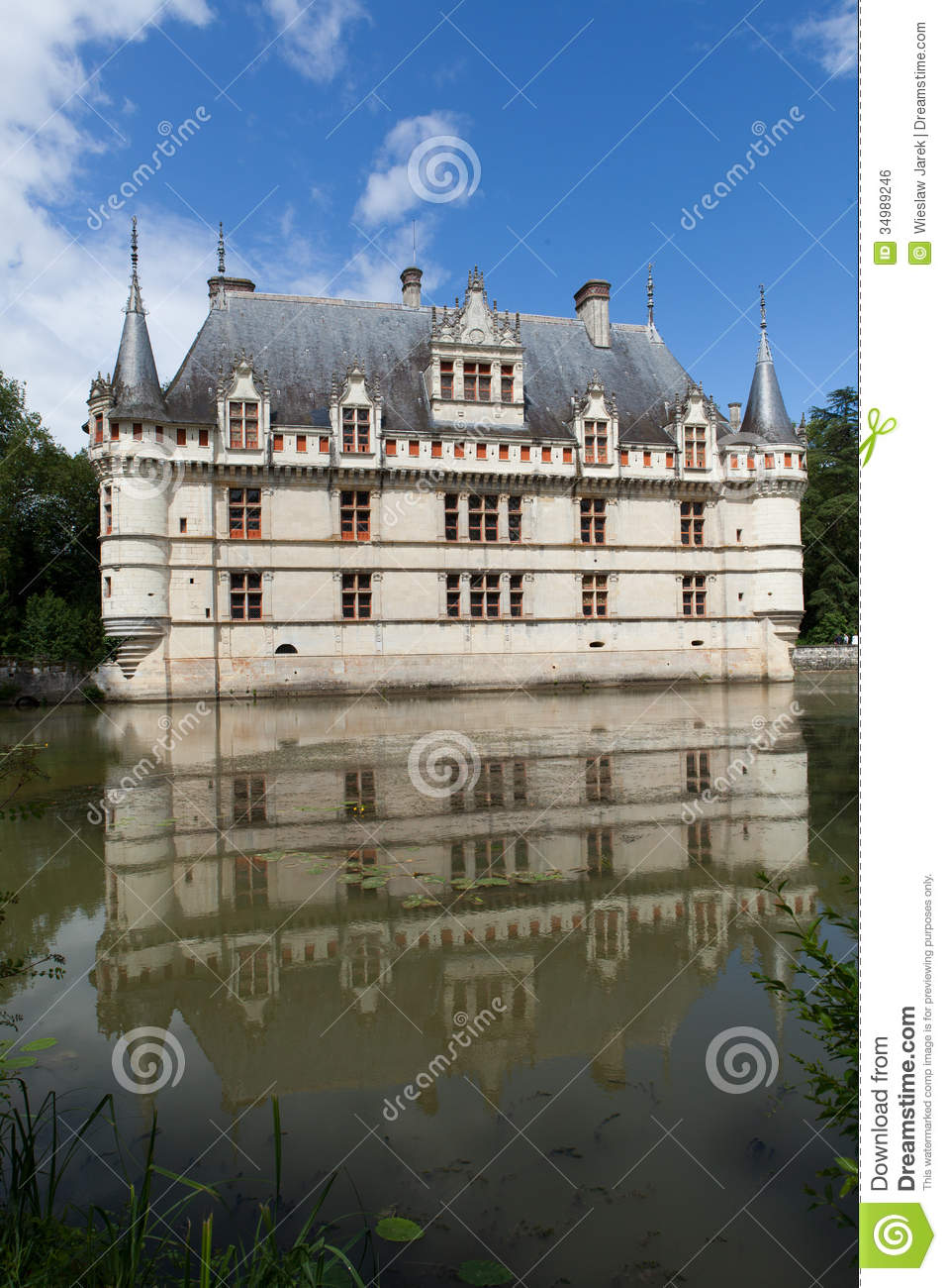 azay le rideau castle in the loire valley royalty free. Black Bedroom Furniture Sets. Home Design Ideas
