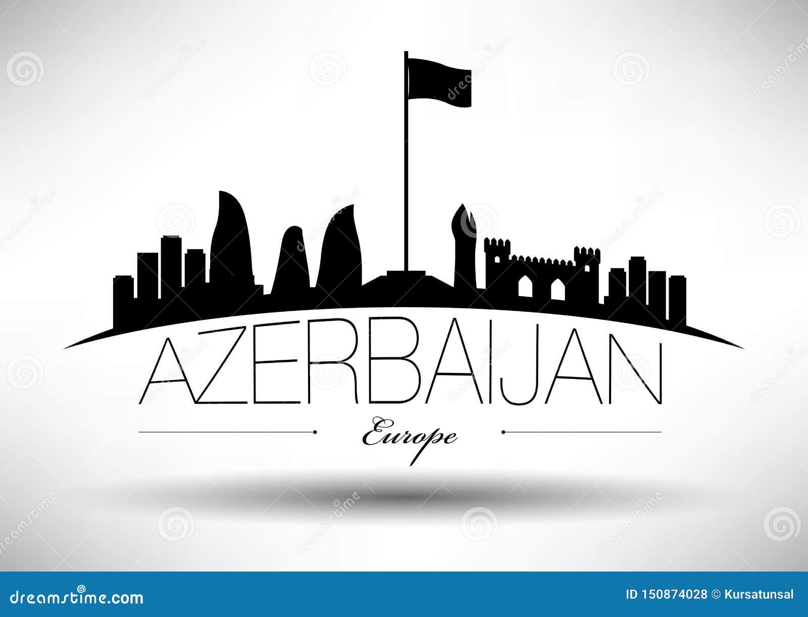 Azerbaijan Skyline with Typographic Design