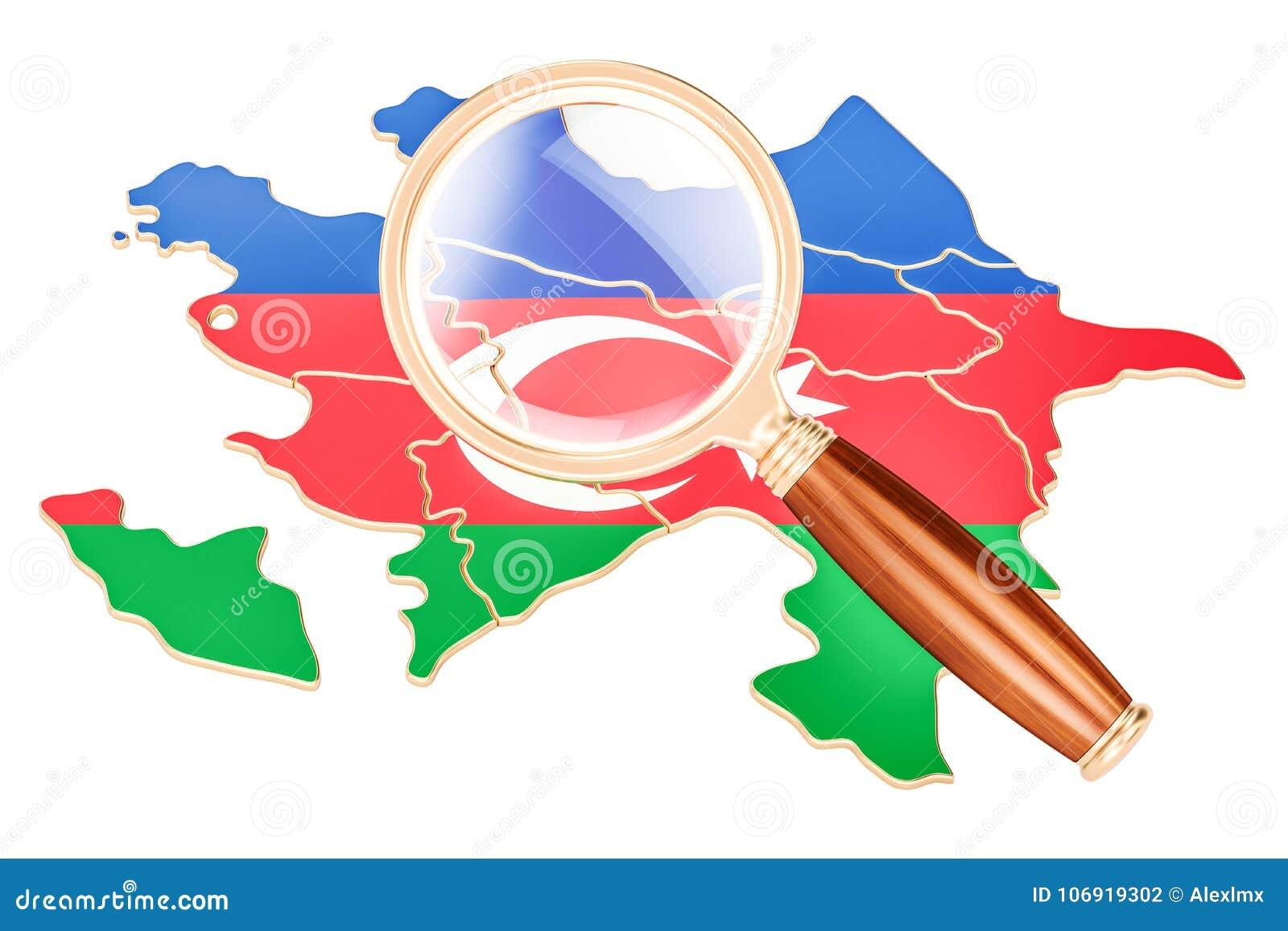 Azerbejdżan pod powiększać - szkło, analizy pojęcie, 3D renderin