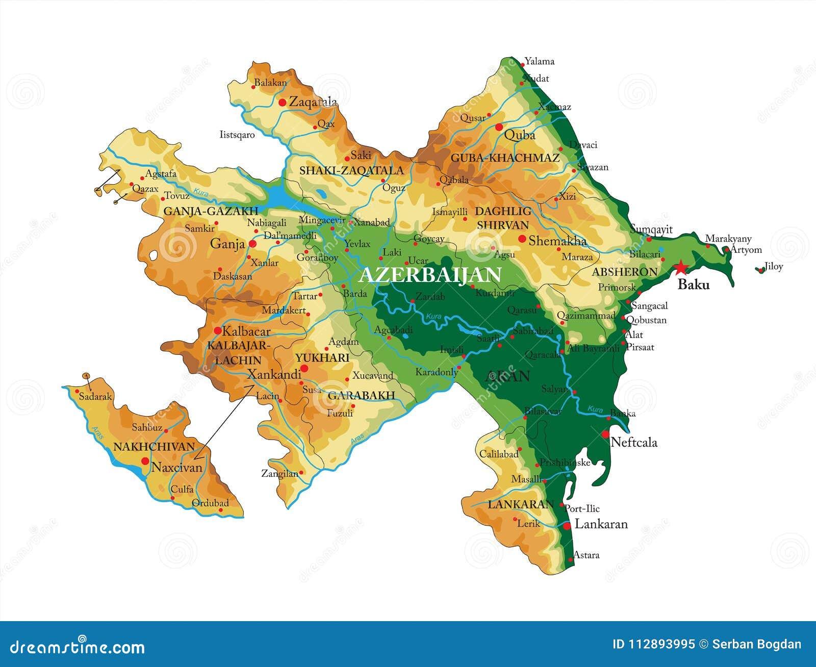 Azerbejdżan reliefowa mapa