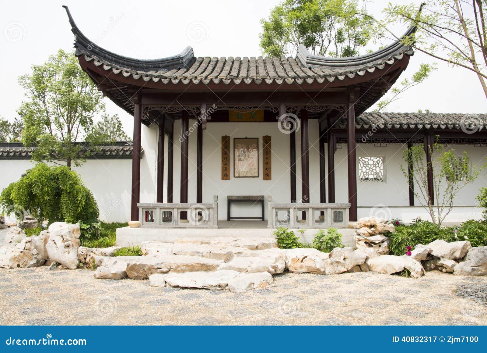 Azi chinees peking tuin antiquiteit de bouw gang paviljoen wit grijs tegel bruine - Gang wit en grijs ...