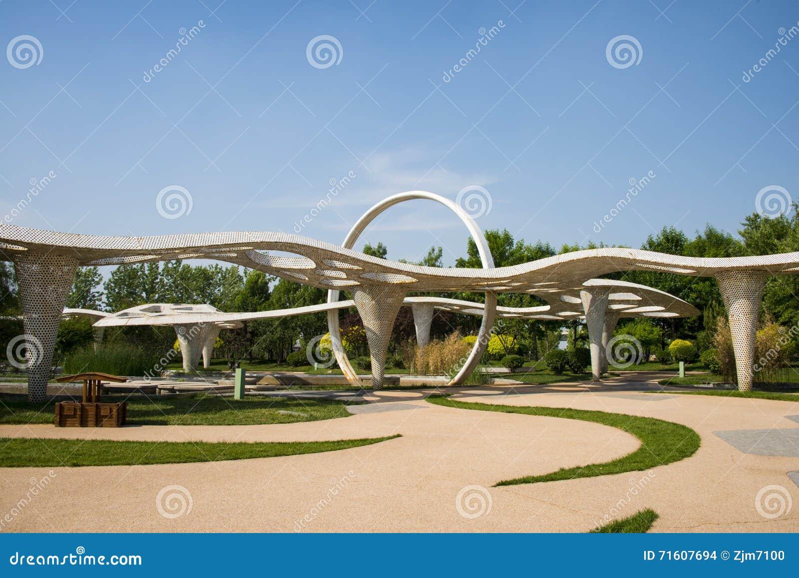 Azi chinees peking tuin expo moderne architectuur paviljoen redactionele stock afbeelding - Moderne landschapsarchitectuur ...