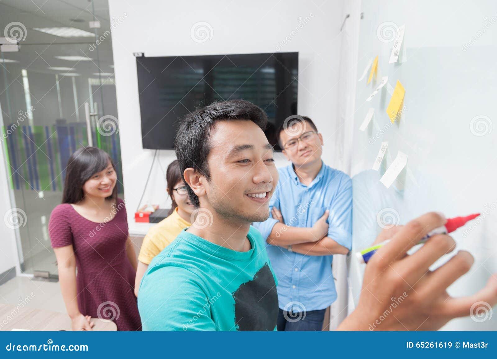 Aziatisch bedrijfsmensenteam die op witte muur trekken