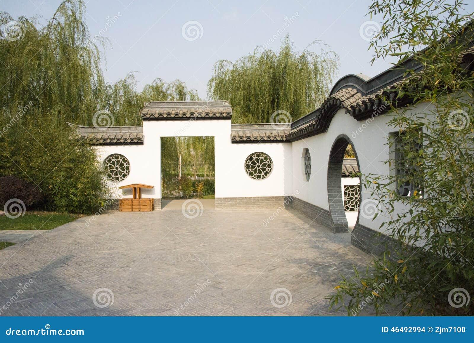 Grijze Tegels Tuin : Aziatisch china peking tuin expo antieke gebouwen witte muren
